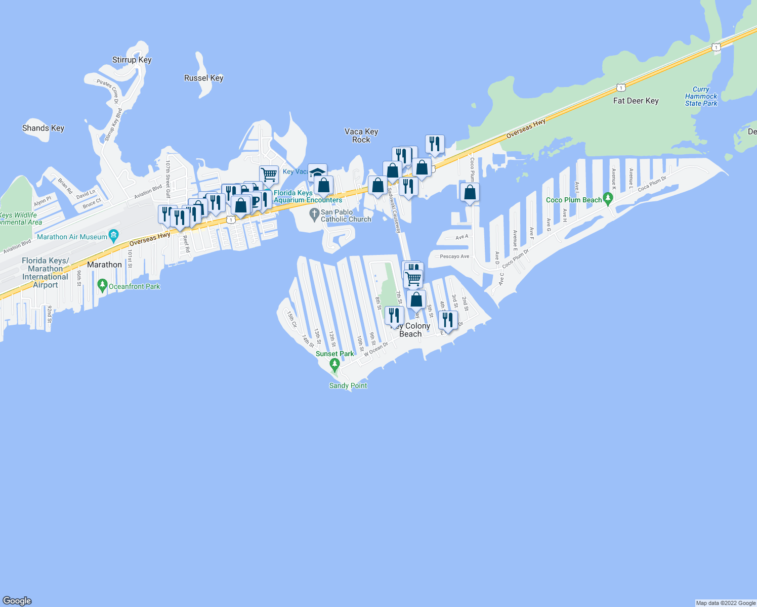 map of restaurants, bars, coffee shops, grocery stores, and more near 260 8th Street in Key Largo