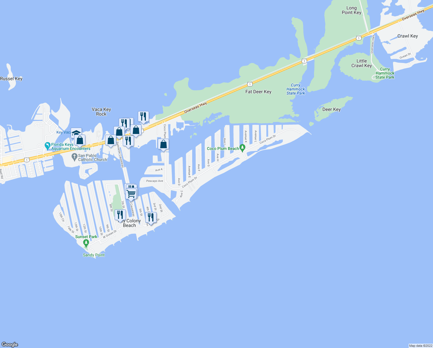 map of restaurants, bars, coffee shops, grocery stores, and more near 135 Coco Plum Drive in Marathon