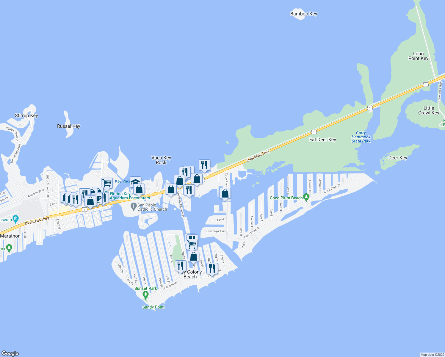 map of restaurants, bars, coffee shops, grocery stores, and more near 13759 Overseas Highway in Marathon