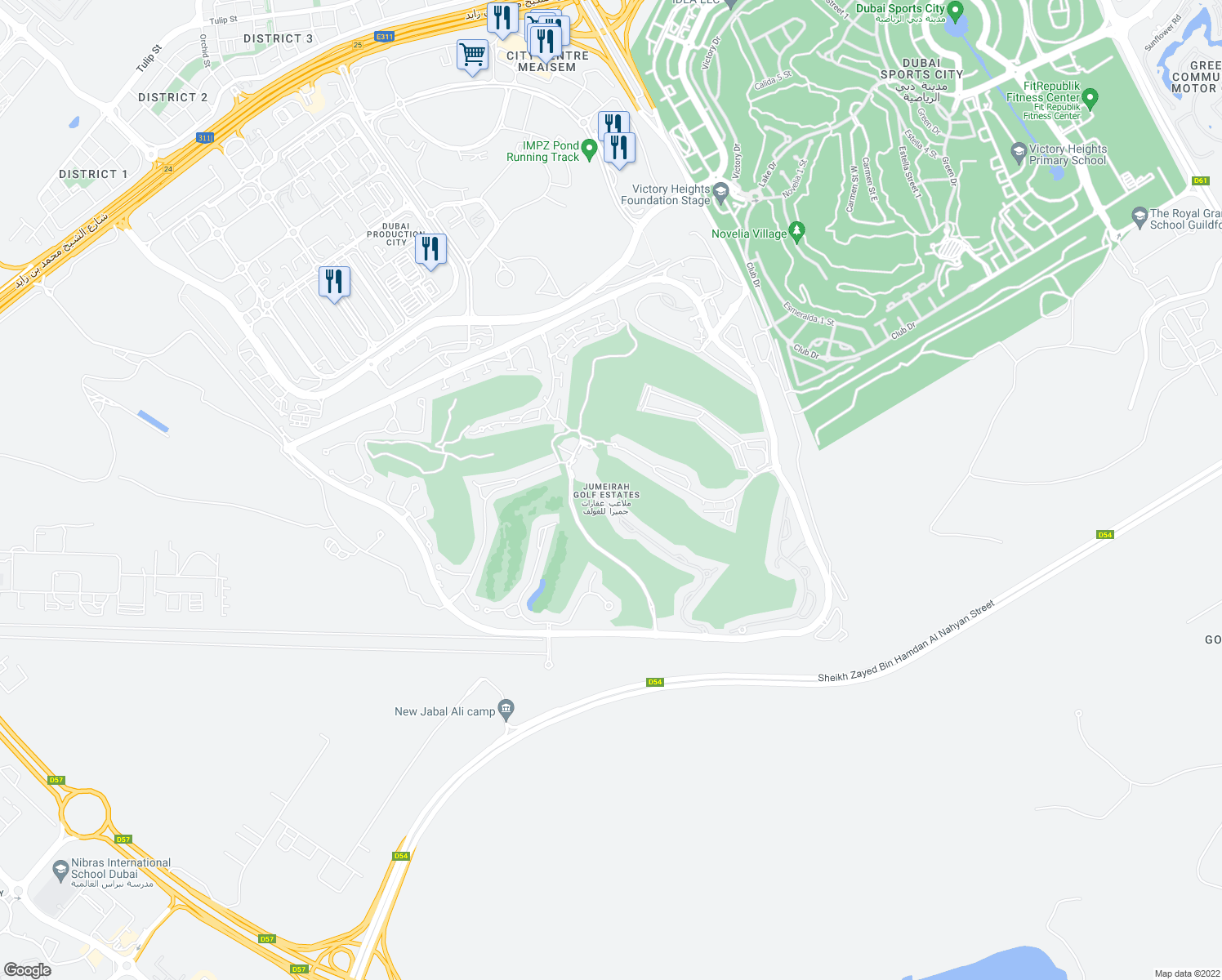 map of restaurants, bars, coffee shops, grocery stores, and more near Unnamed Road in Dubai