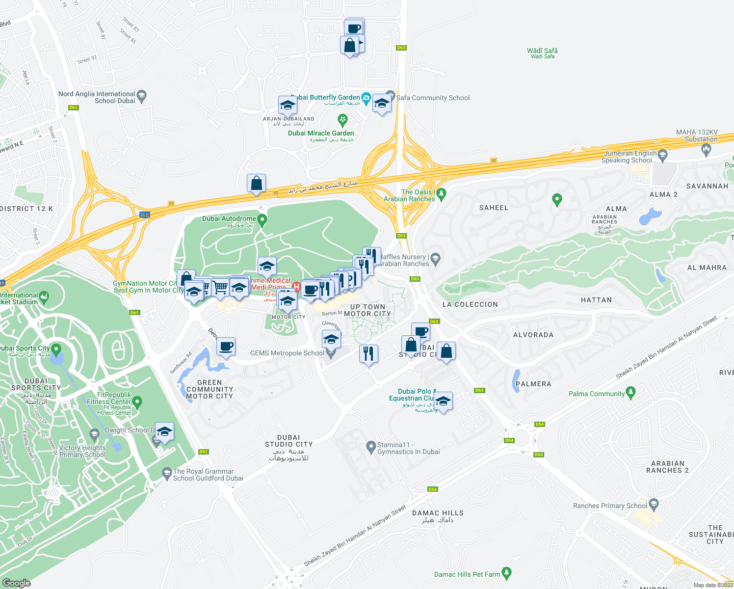 map of restaurants, bars, coffee shops, grocery stores, and more near Sherlock Street in Dubai
