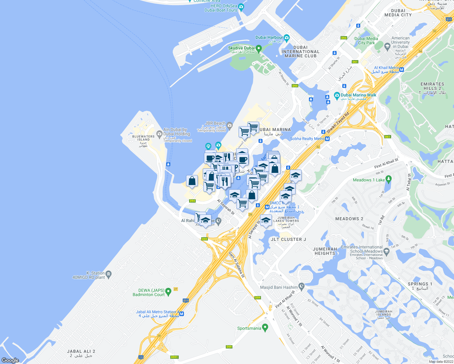 map of restaurants, bars, coffee shops, grocery stores, and more near Marina Promenade in Dubai