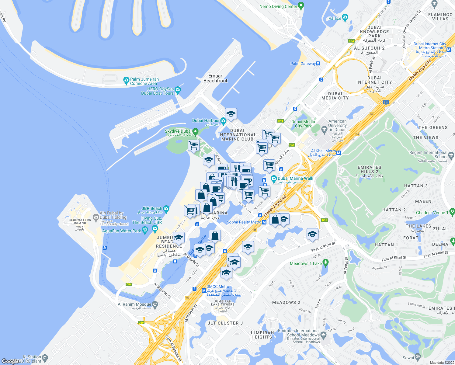 map of restaurants, bars, coffee shops, grocery stores, and more near Jumeirah Beach Road in Dubai