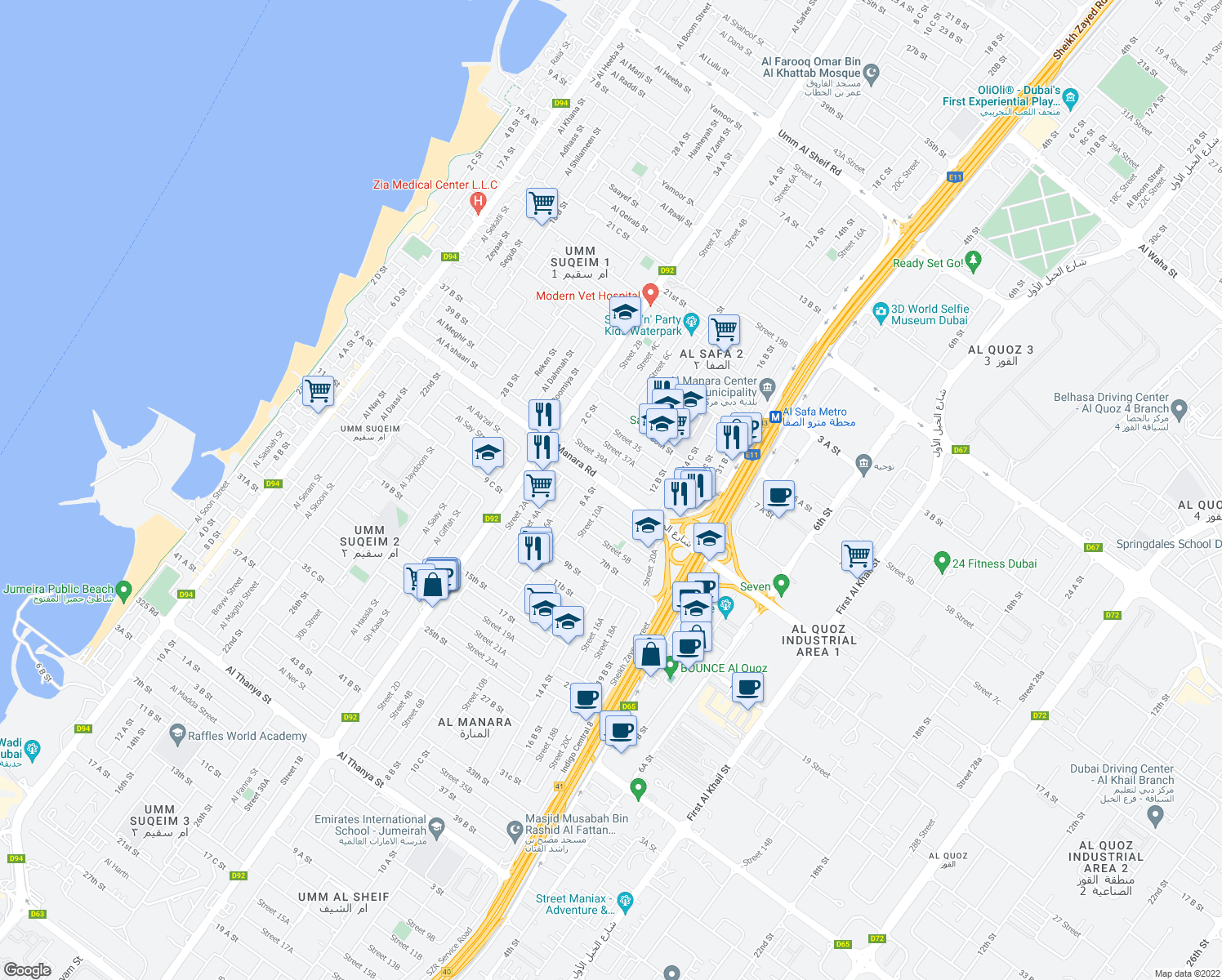 map of restaurants, bars, coffee shops, grocery stores, and more near 28 21a Street in Dubai