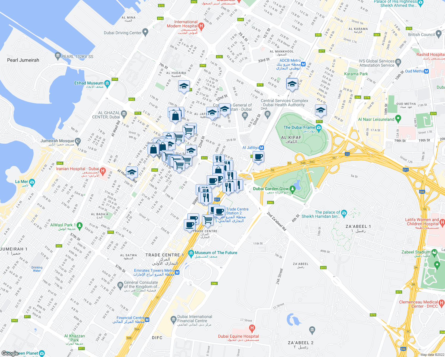 map of restaurants, bars, coffee shops, grocery stores, and more near 6th Street in Dubai