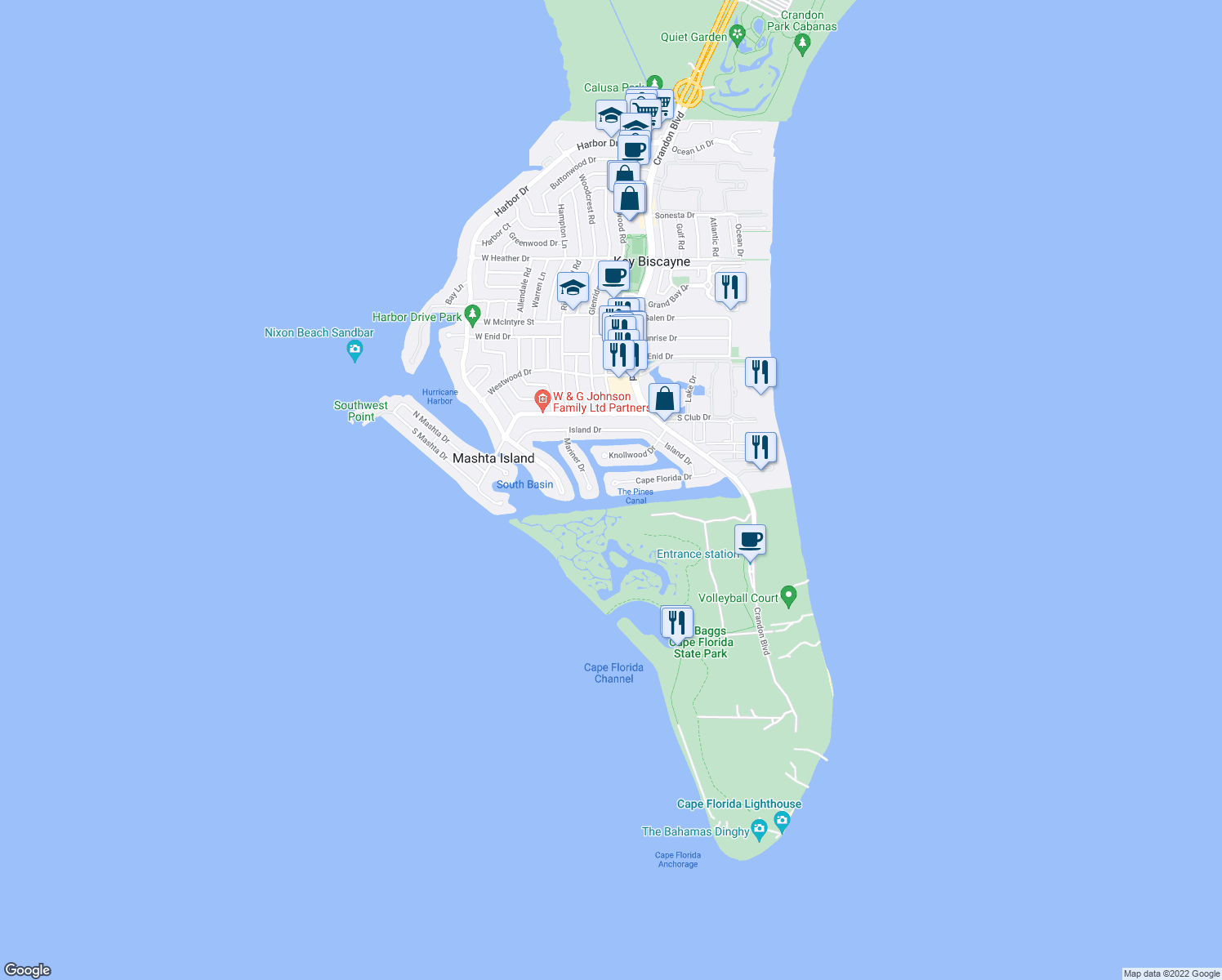 map of restaurants, bars, coffee shops, grocery stores, and more near 260 Cape Florida Drive in Key Biscayne