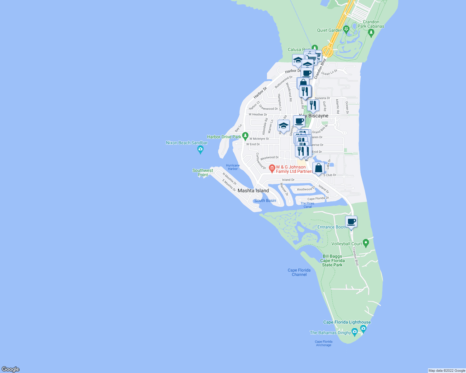 map of restaurants, bars, coffee shops, grocery stores, and more near 611 South Mashta Drive in Key Biscayne