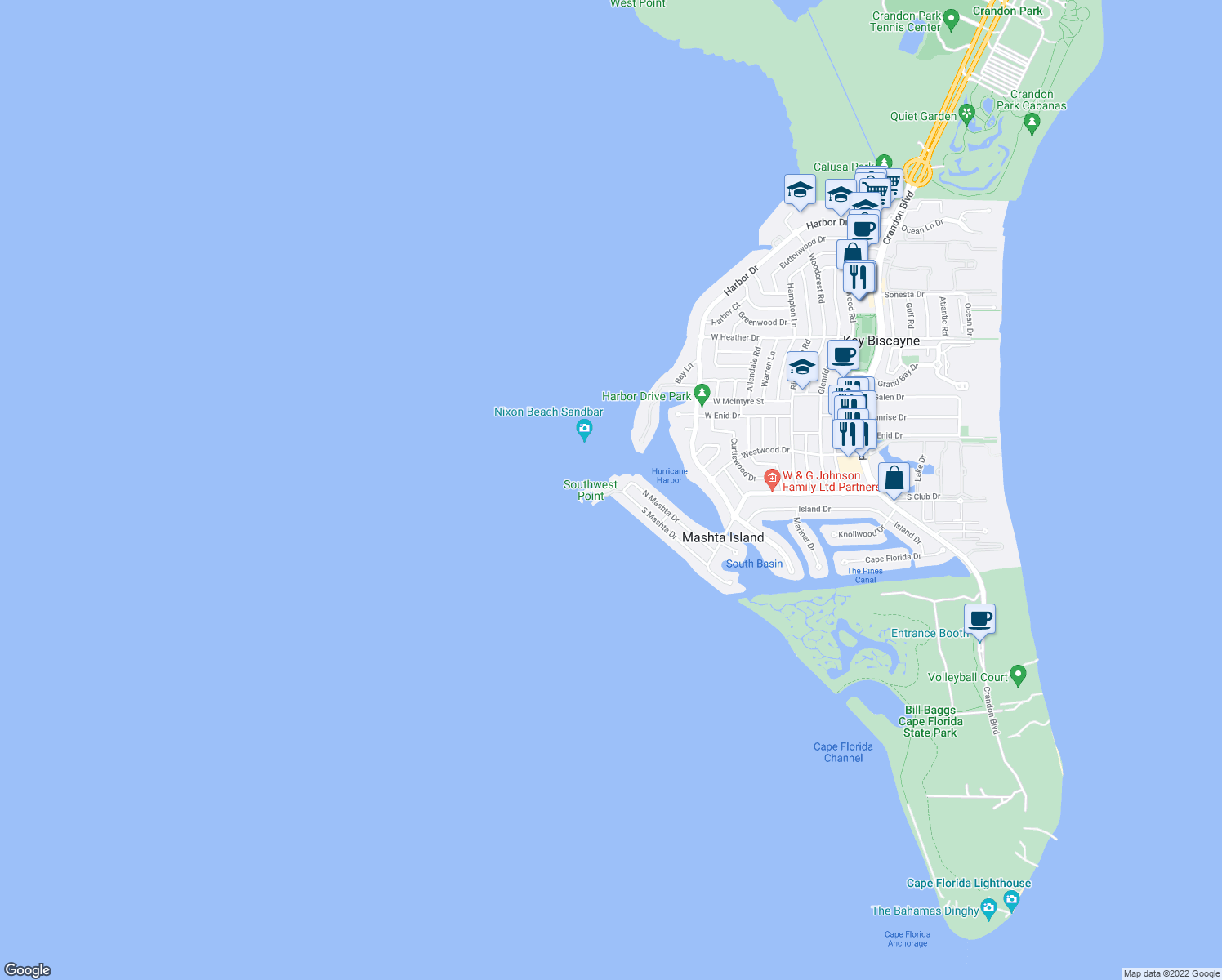 map of restaurants, bars, coffee shops, grocery stores, and more near 755 South Mashta Drive in Key Biscayne