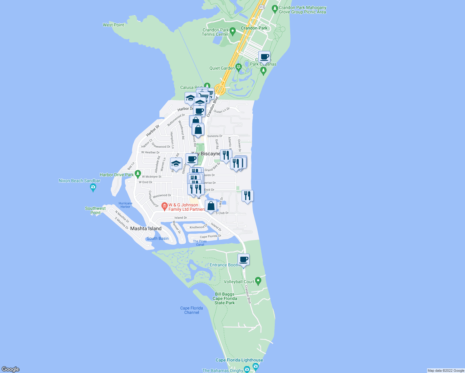map of restaurants, bars, coffee shops, grocery stores, and more near 650 Ocean Drive in Key Biscayne