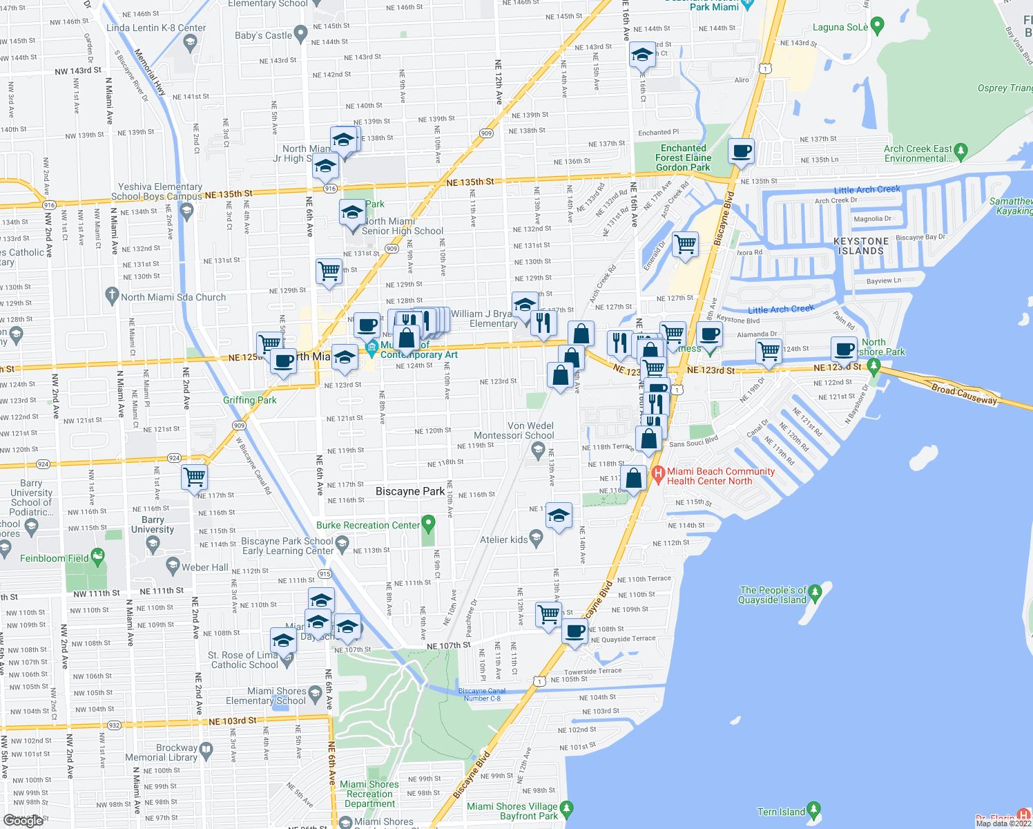 map of restaurants, bars, coffee shops, grocery stores, and more near 1200 Northeast 121st Street in Biscayne Park