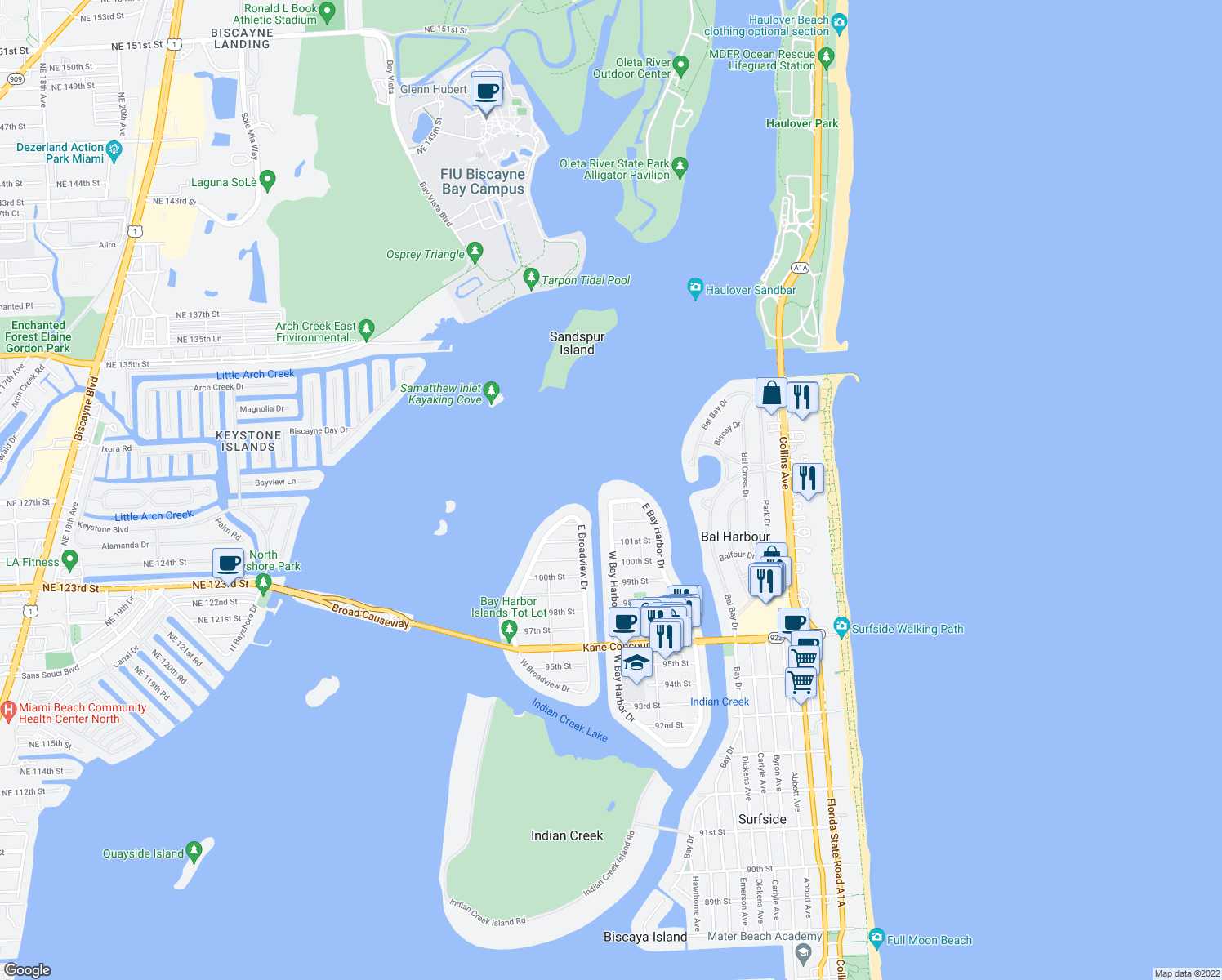 map of restaurants, bars, coffee shops, grocery stores, and more near in Bay Harbor Islands