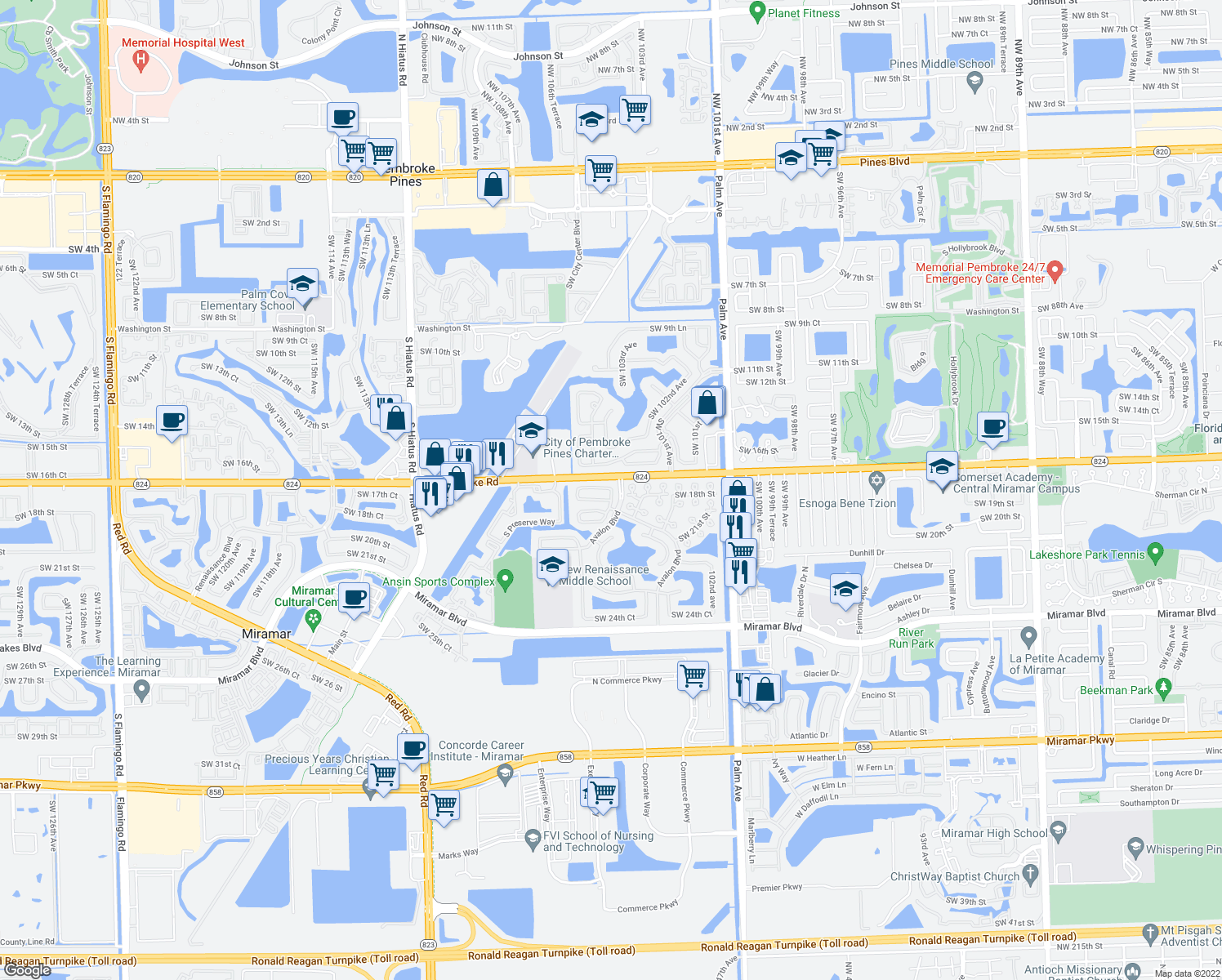 map of restaurants, bars, coffee shops, grocery stores, and more near 10468-10576 Pembroke Road in Miramar