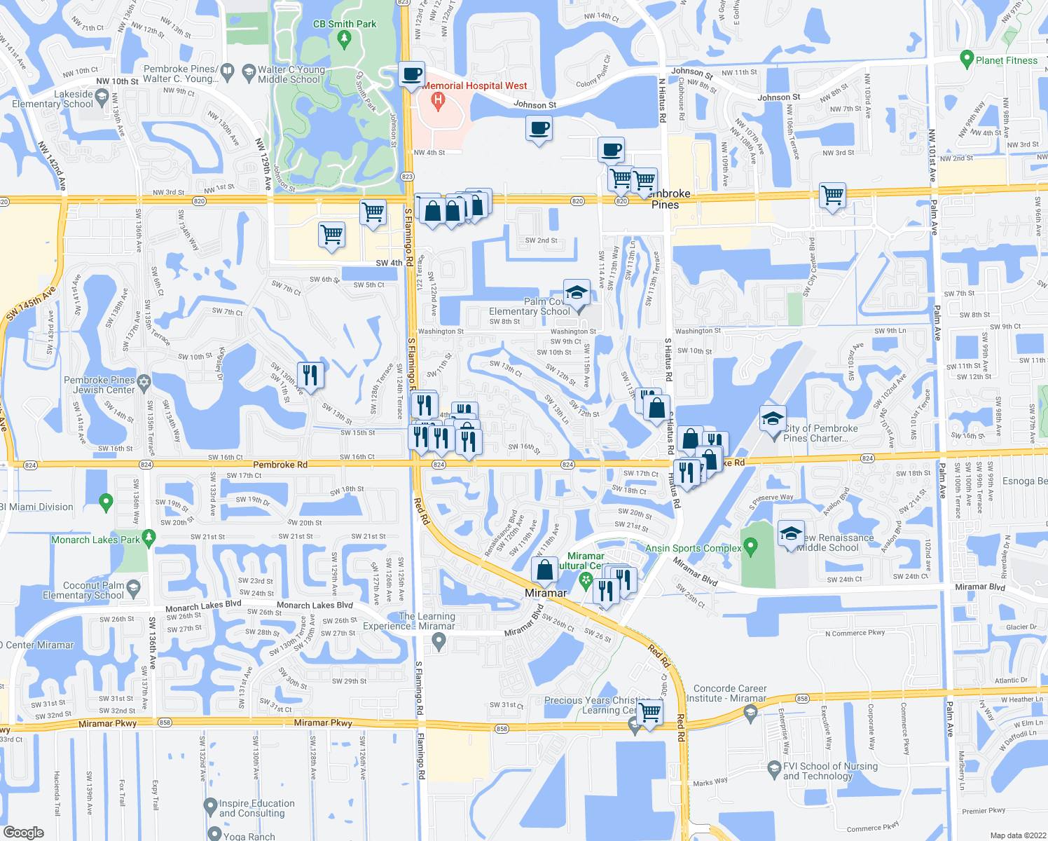 map of restaurants, bars, coffee shops, grocery stores, and more near 11801 Pembroke Road in Pembroke Pines