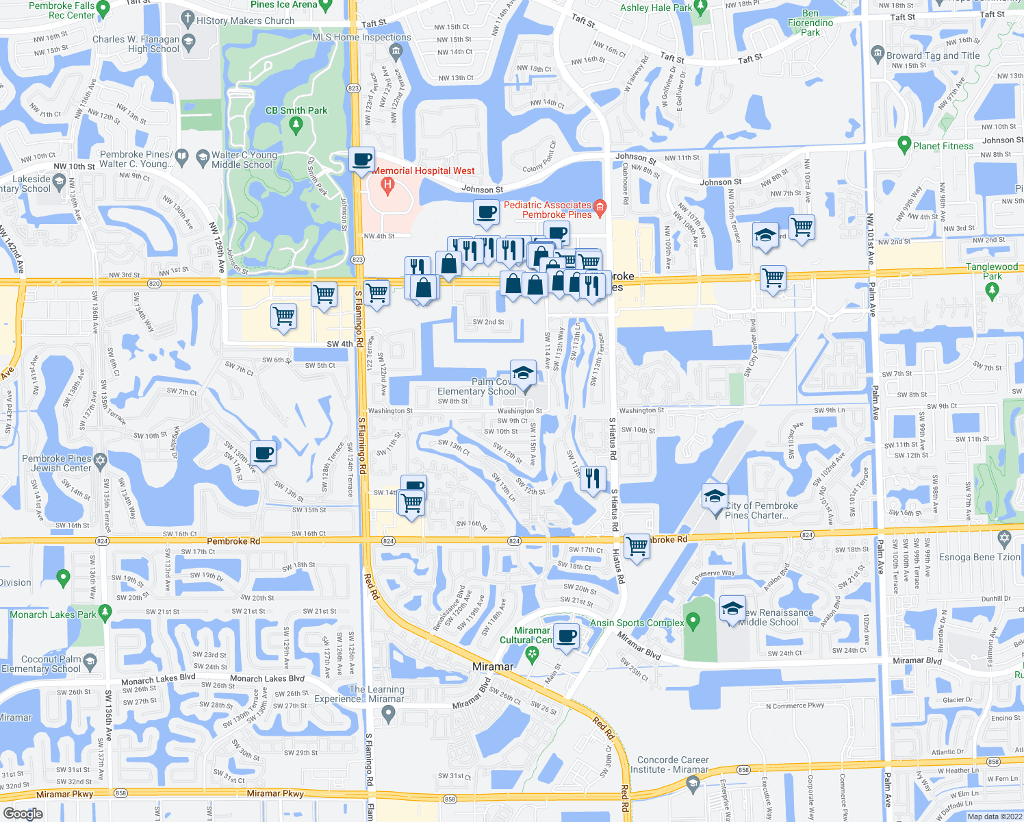 map of restaurants, bars, coffee shops, grocery stores, and more near 11601 Washington Street in Pembroke Pines