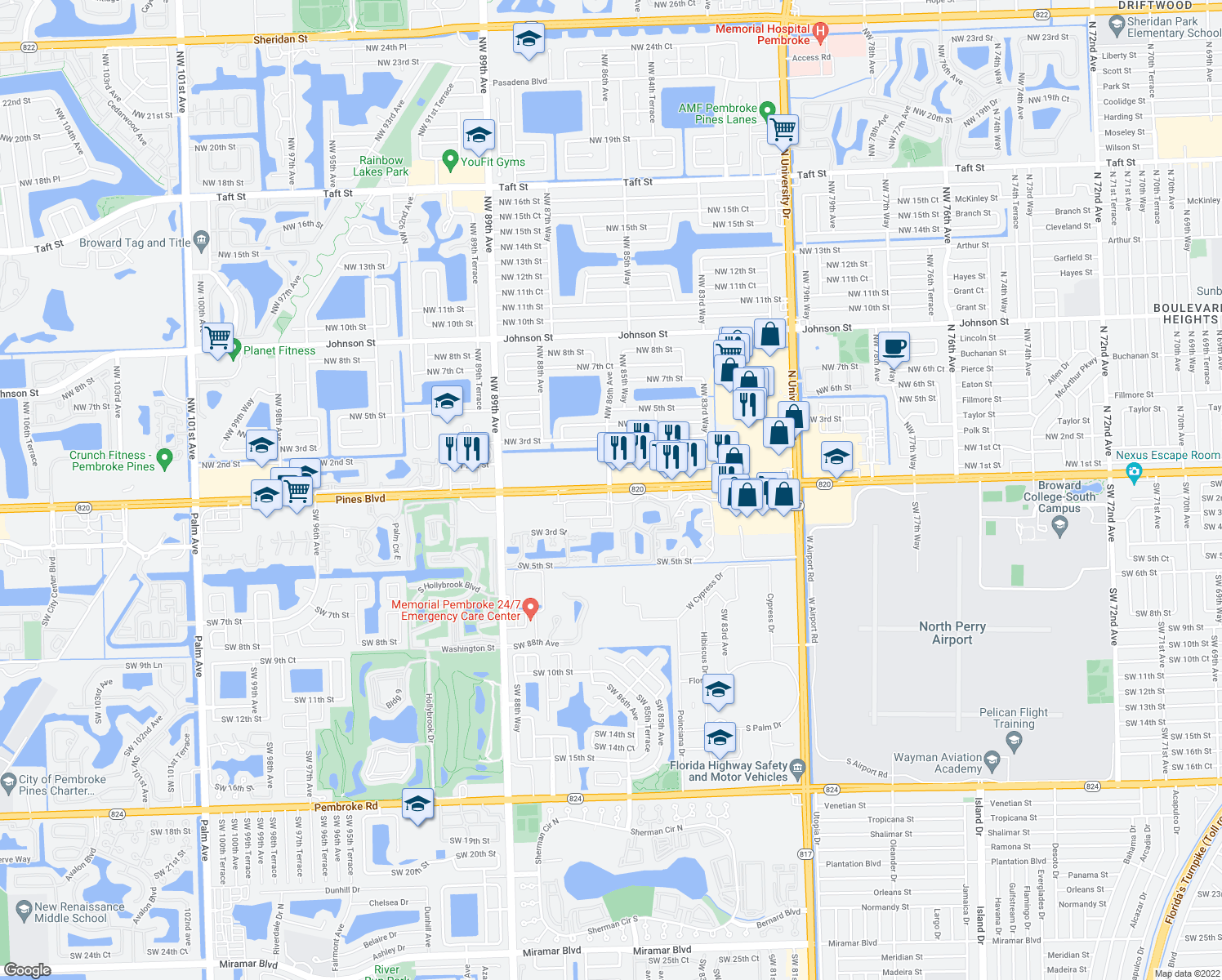 map of restaurants, bars, coffee shops, grocery stores, and more near Northwest 86th Avenue & Pines Boulevard in Pembroke Pines