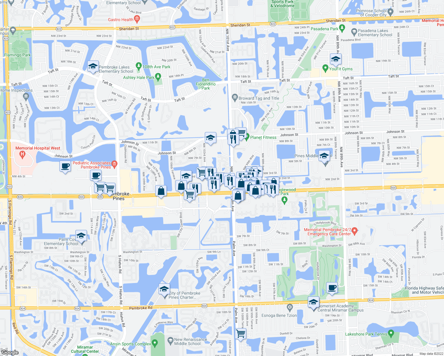 map of restaurants, bars, coffee shops, grocery stores, and more near 10230 Northwest 3rd Street in Pembroke Pines