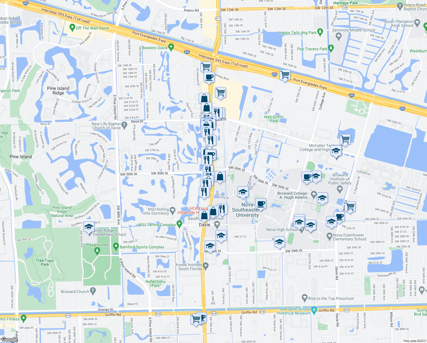 map of restaurants, bars, coffee shops, grocery stores, and more near S University Dr & SW 30th St in Davie