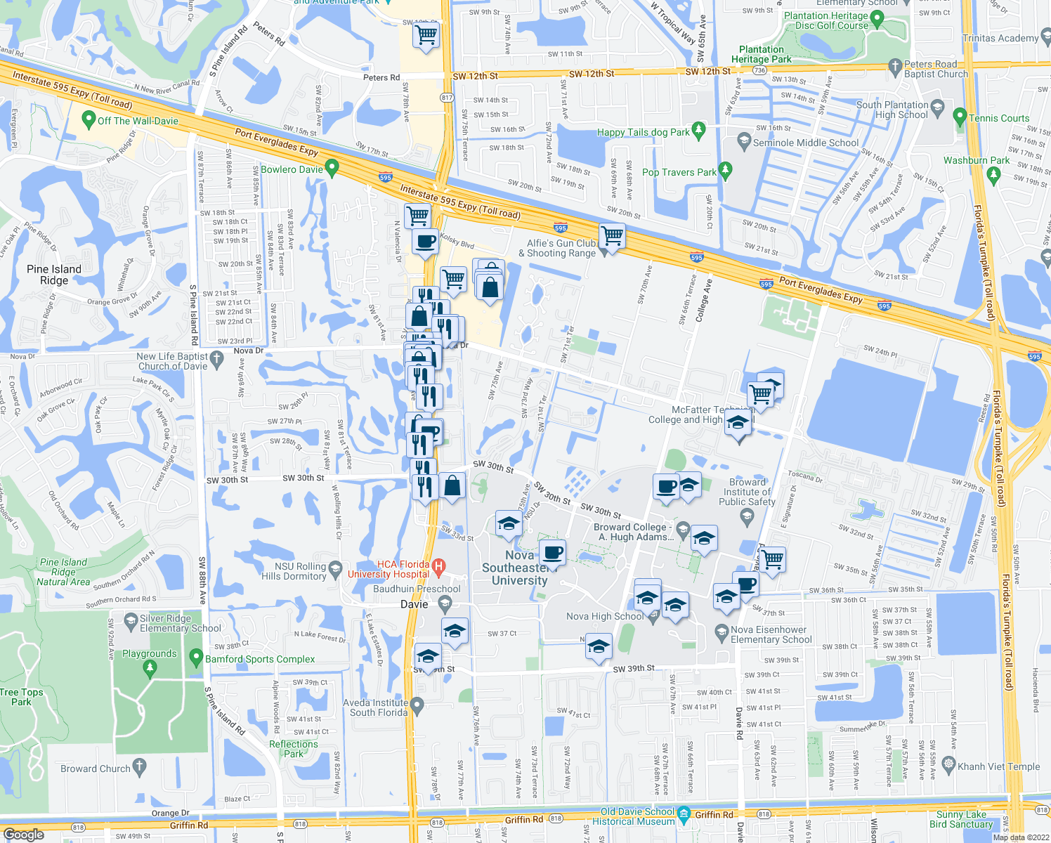 map of restaurants, bars, coffee shops, grocery stores, and more near 2701-2849 Southwest 73rd Way in Davie
