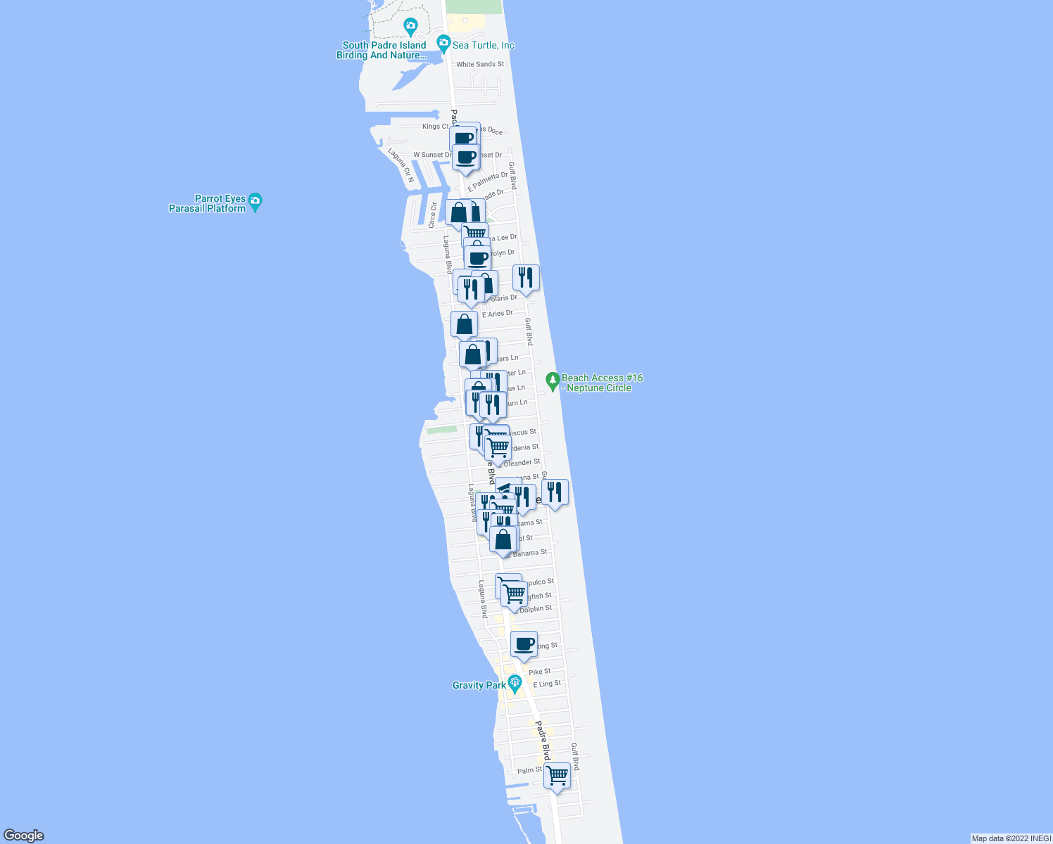 map of restaurants, bars, coffee shops, grocery stores, and more near 125 East Esperanza Street in South Padre Island