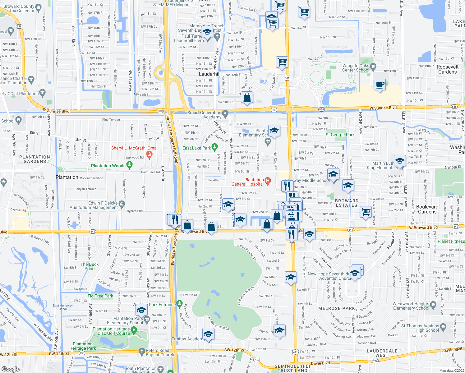 map of restaurants, bars, coffee shops, grocery stores, and more near Northwest 4th Street in Fort Lauderdale