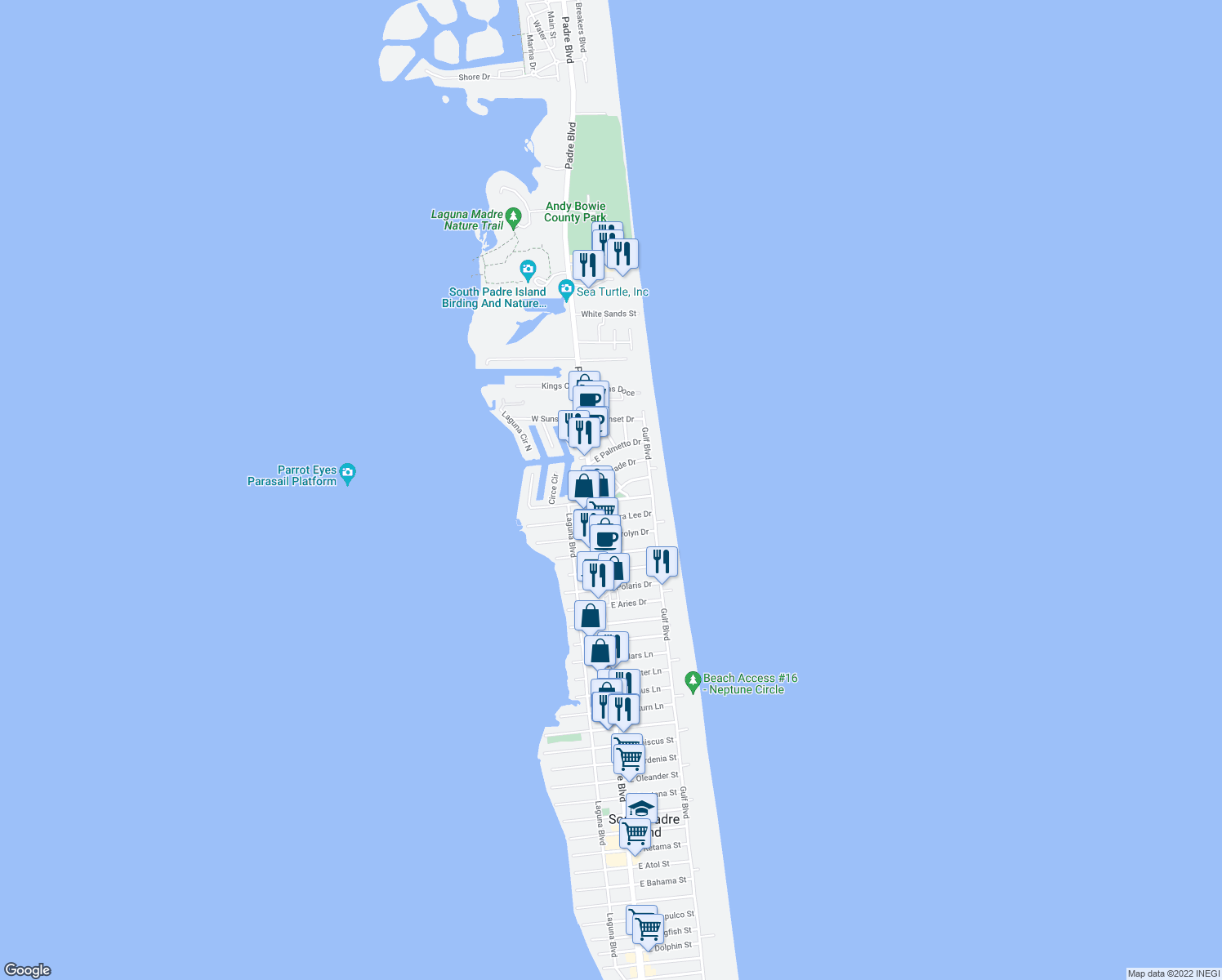 map of restaurants, bars, coffee shops, grocery stores, and more near 108 Coronado Drive in South Padre Island