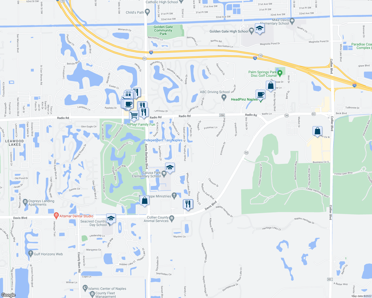 map of restaurants, bars, coffee shops, grocery stores, and more near 336 Pindo Palm Drive in Naples