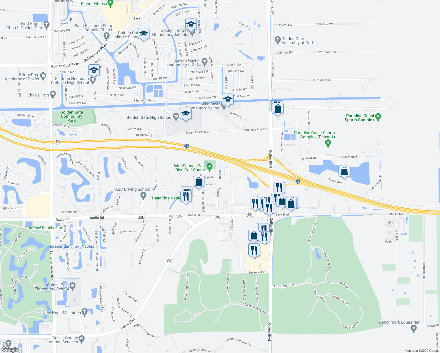 map of restaurants, bars, coffee shops, grocery stores, and more near Weir Dr in Naples