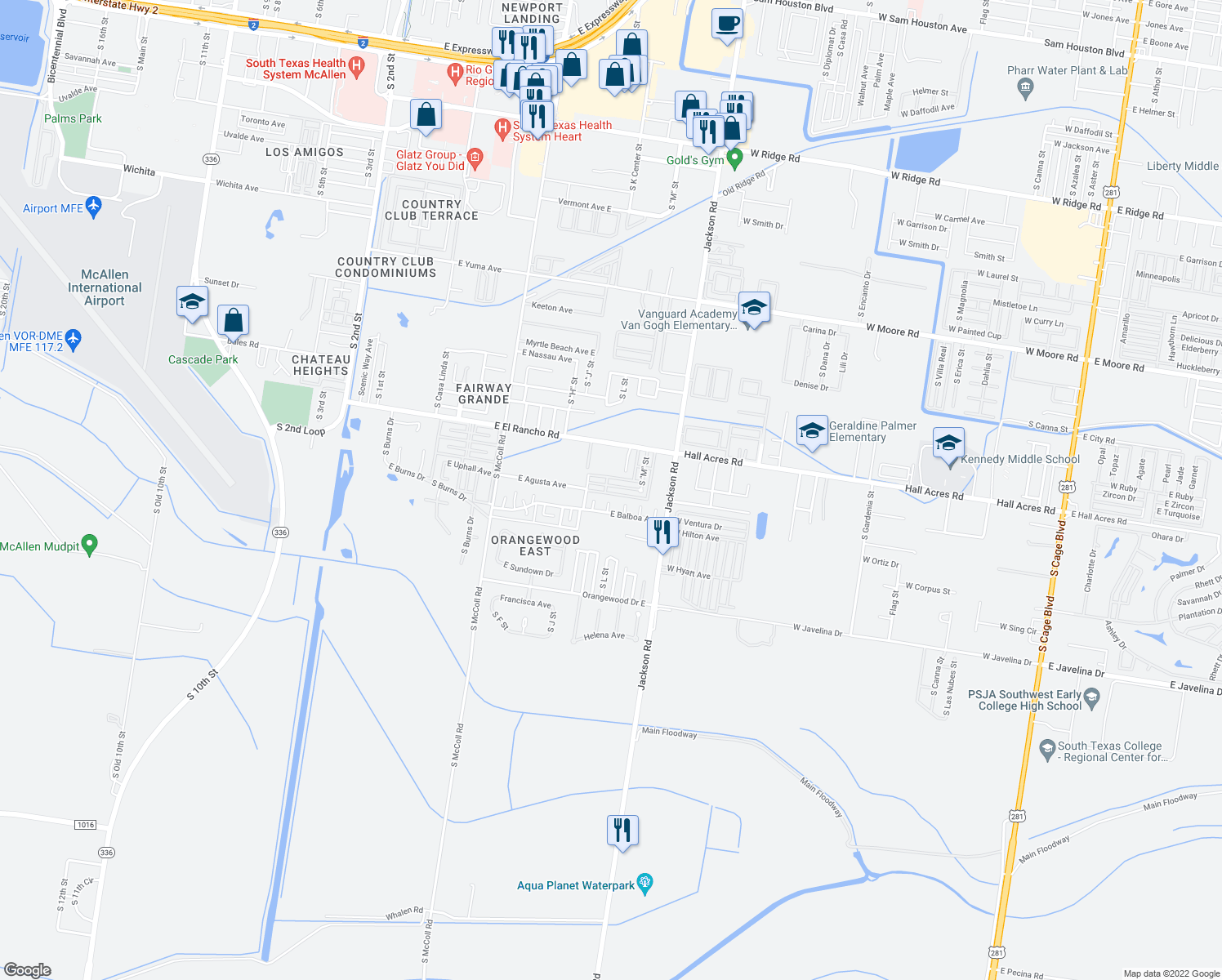 map of restaurants, bars, coffee shops, grocery stores, and more near 1224 East Agusta Avenue in McAllen