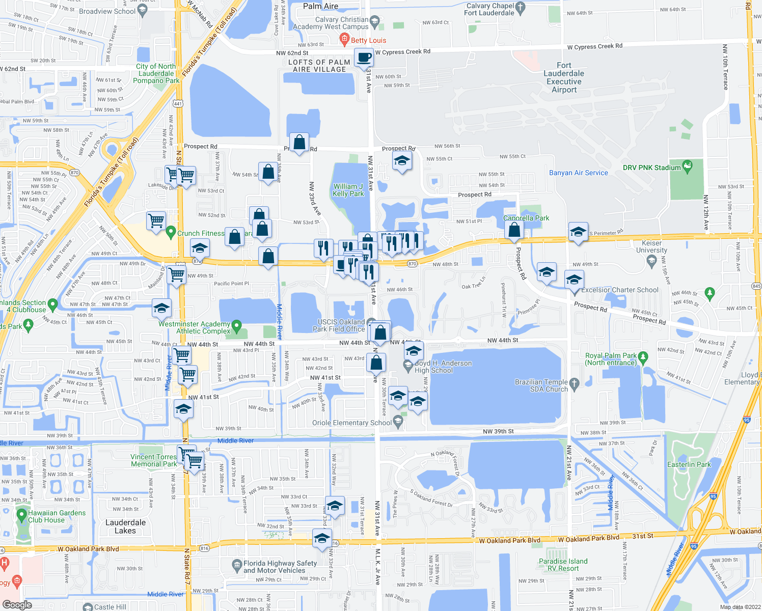 map of restaurants, bars, coffee shops, grocery stores, and more near 4496-4558 Northwest 31st Avenue in Oakland Park