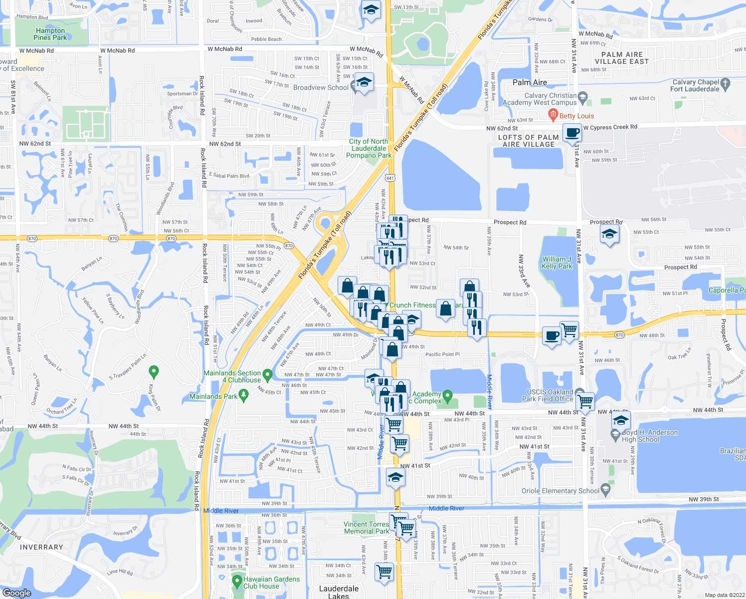 map of restaurants, bars, coffee shops, grocery stores, and more near 4001 West Commercial Boulevard in Tamarac
