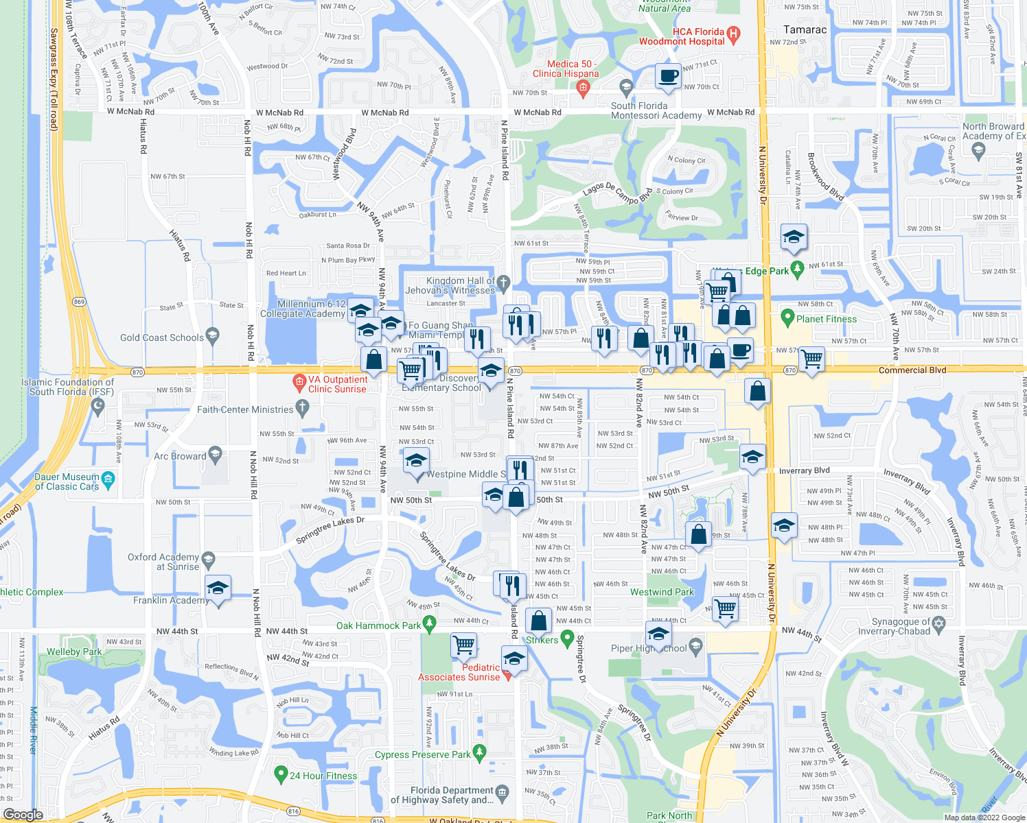 map of restaurants, bars, coffee shops, grocery stores, and more near 5350 Northwest 88th Avenue in Lauderhill