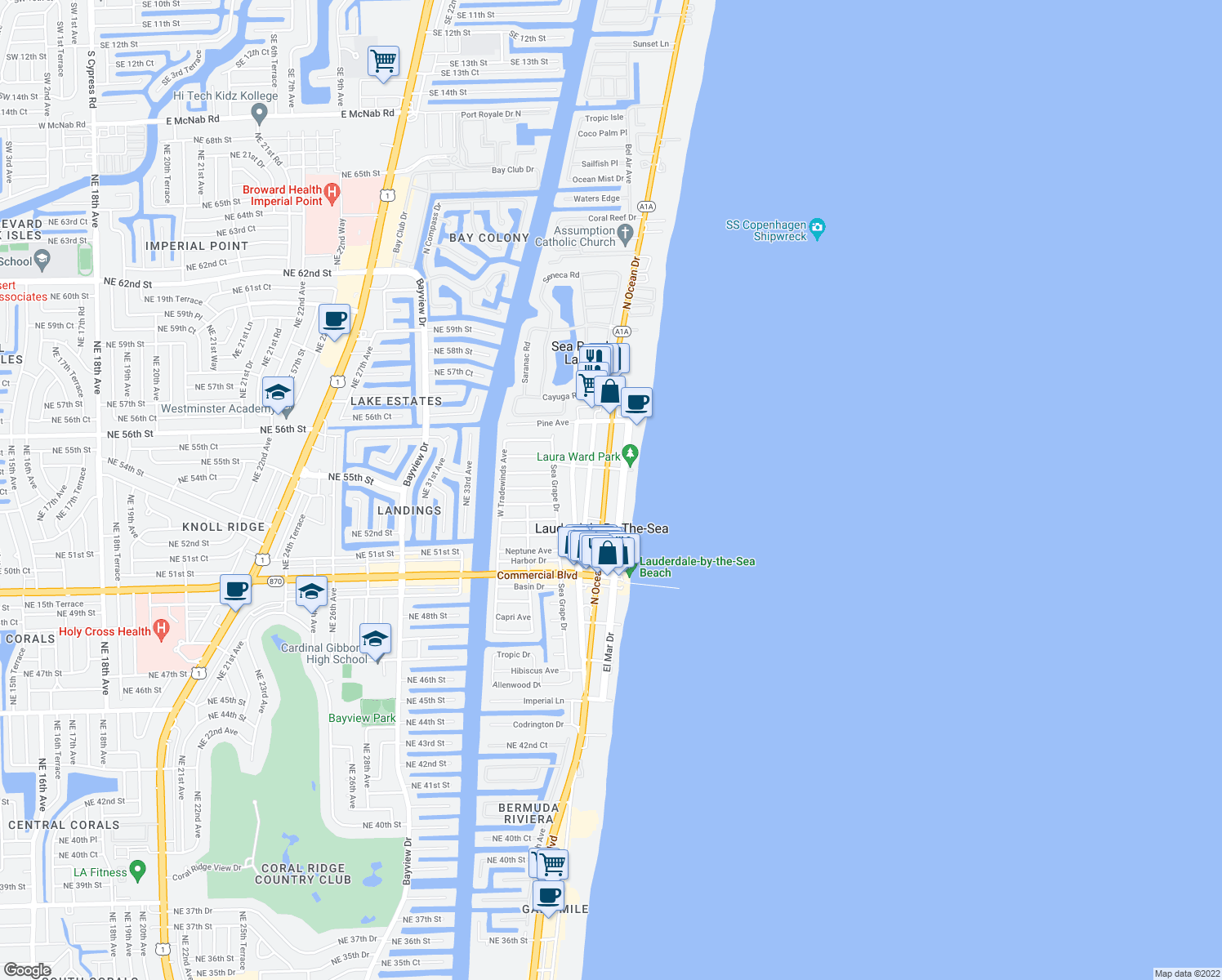 map of restaurants, bars, coffee shops, grocery stores, and more near 4540 North Ocean Drive in Lauderdale-by-the-Sea