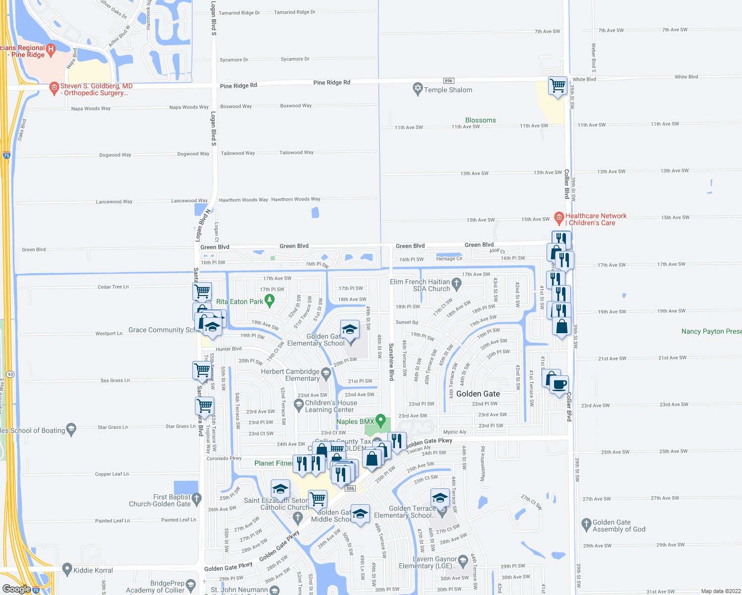 map of restaurants, bars, coffee shops, grocery stores, and more near 1796 49th Street Southwest in Naples