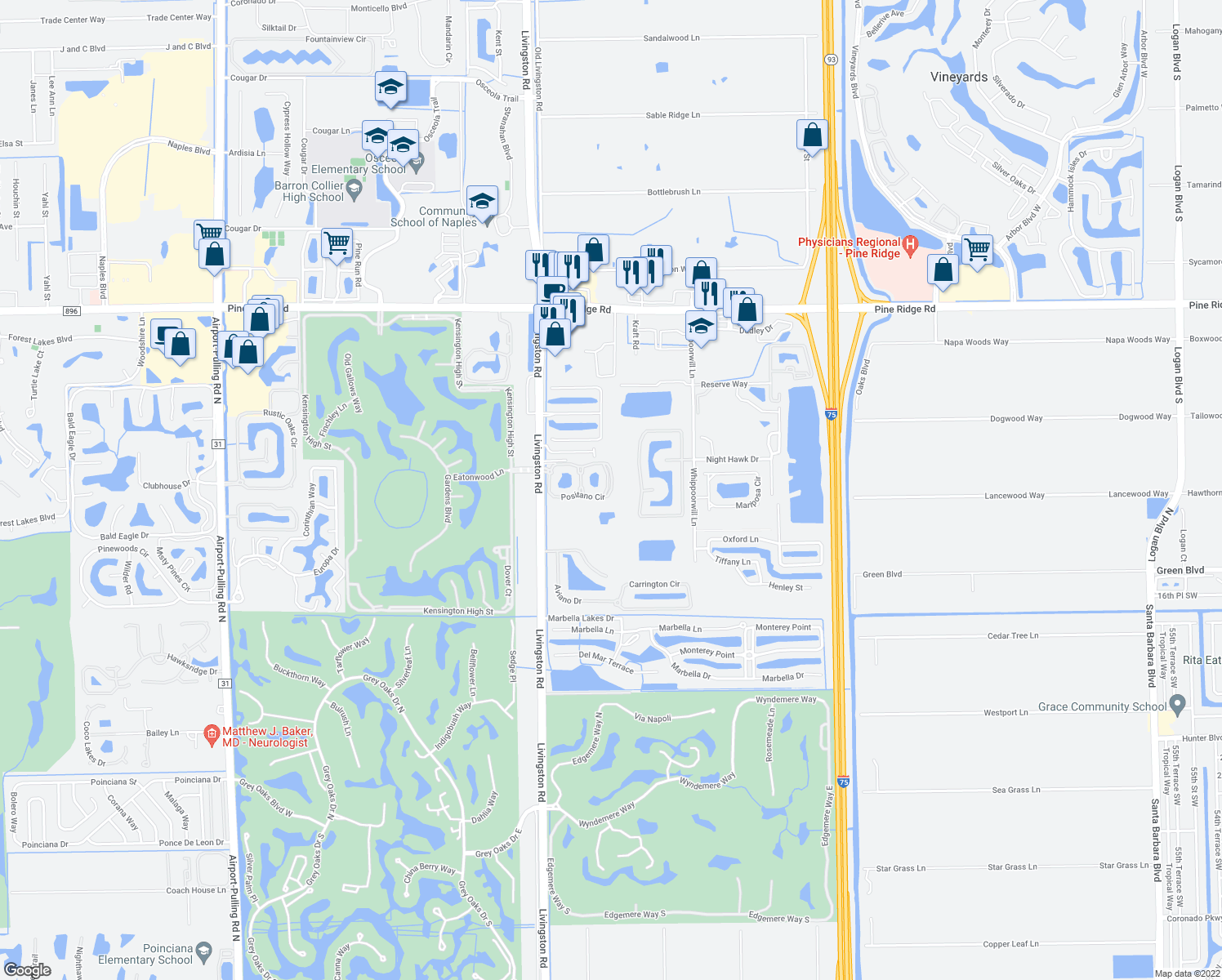 map of restaurants, bars, coffee shops, grocery stores, and more near 12940 Positano Circle in Naples