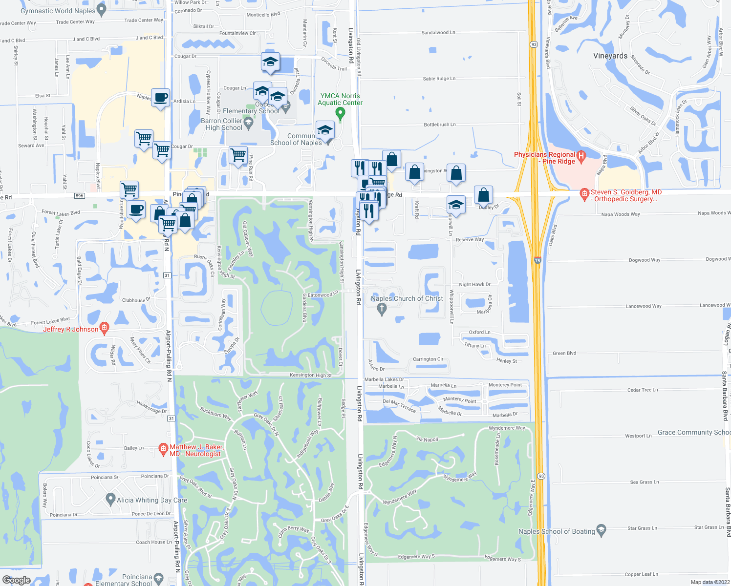 map of restaurants, bars, coffee shops, grocery stores, and more near 13039 Livingston Road in Naples