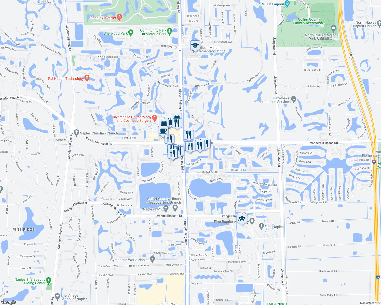 map of restaurants, bars, coffee shops, grocery stores, and more near in Naples