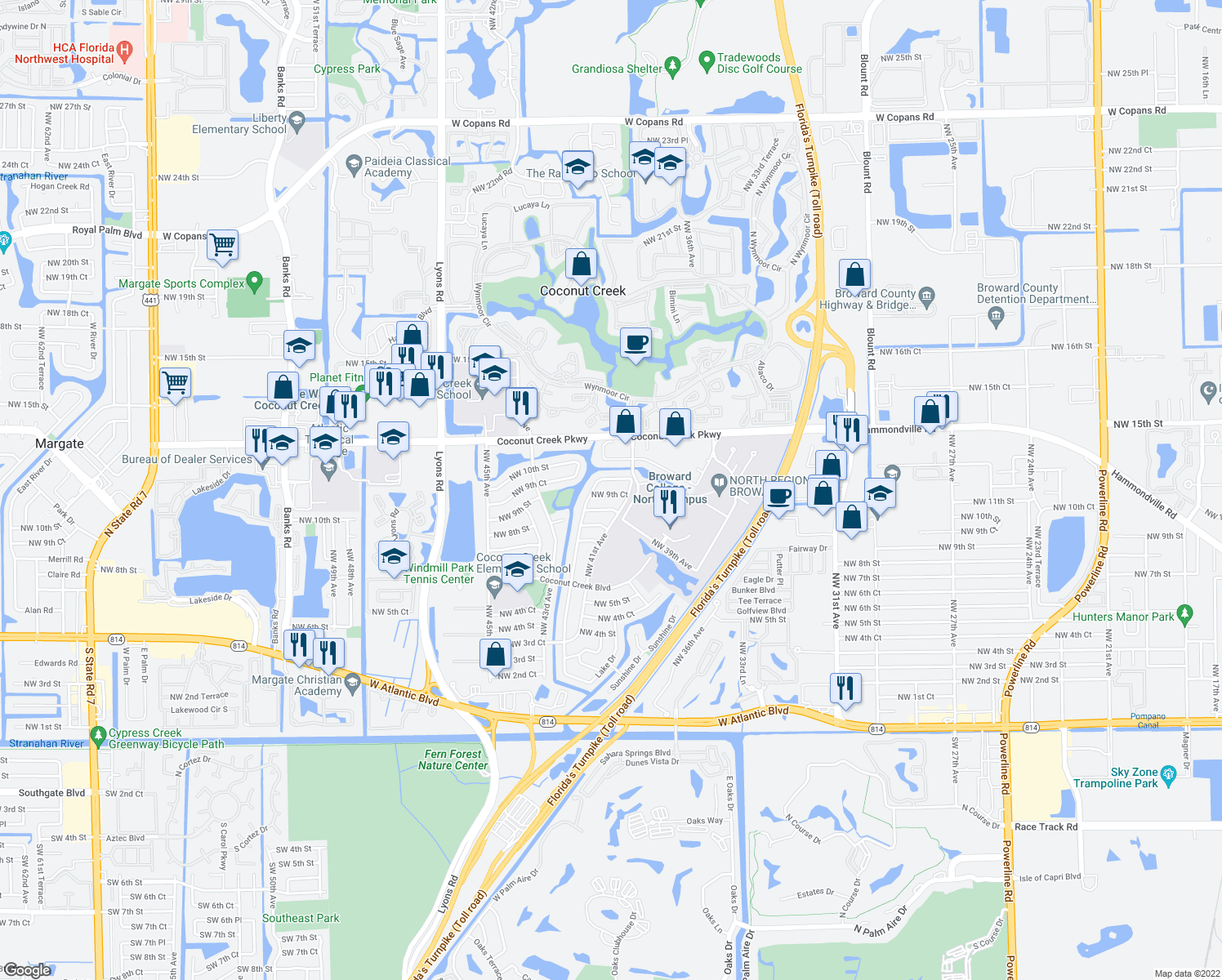 map of restaurants, bars, coffee shops, grocery stores, and more near 4150 Northwest 10th Street in Coconut Creek