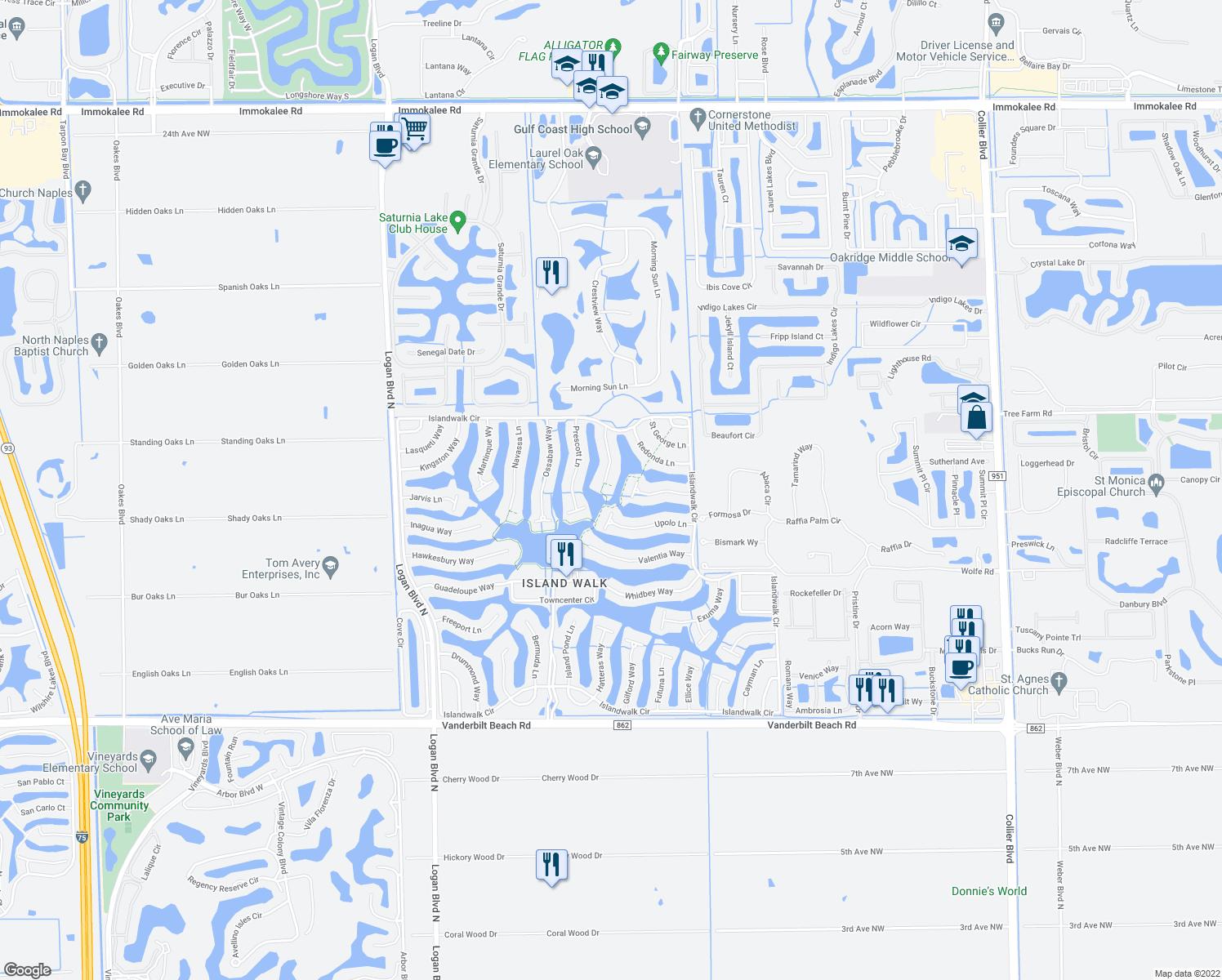 map of restaurants, bars, coffee shops, grocery stores, and more near 4366 Queen Elizabeth Way in Naples