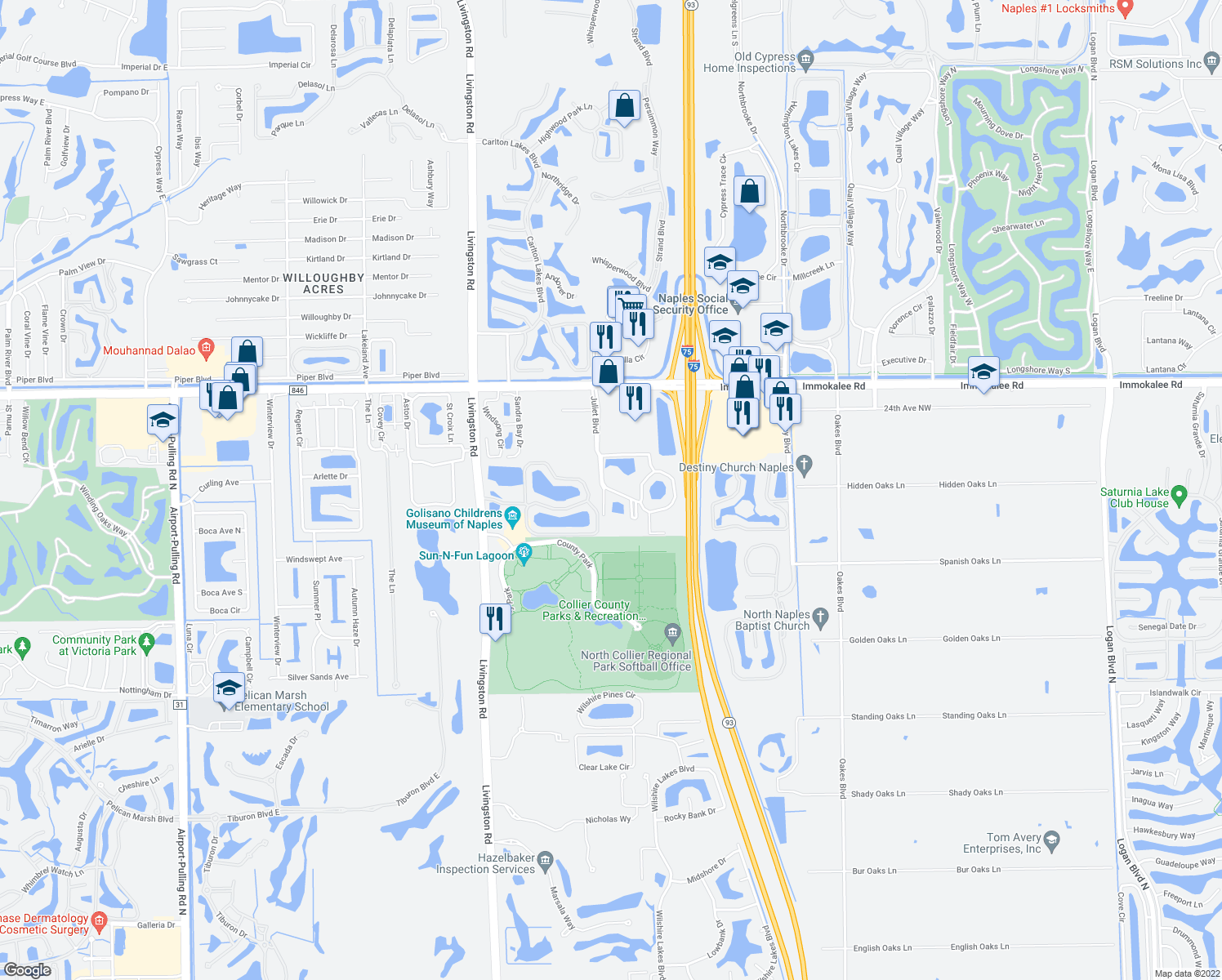 map of restaurants, bars, coffee shops, grocery stores, and more near 5520 Jonquil Lane in Naples