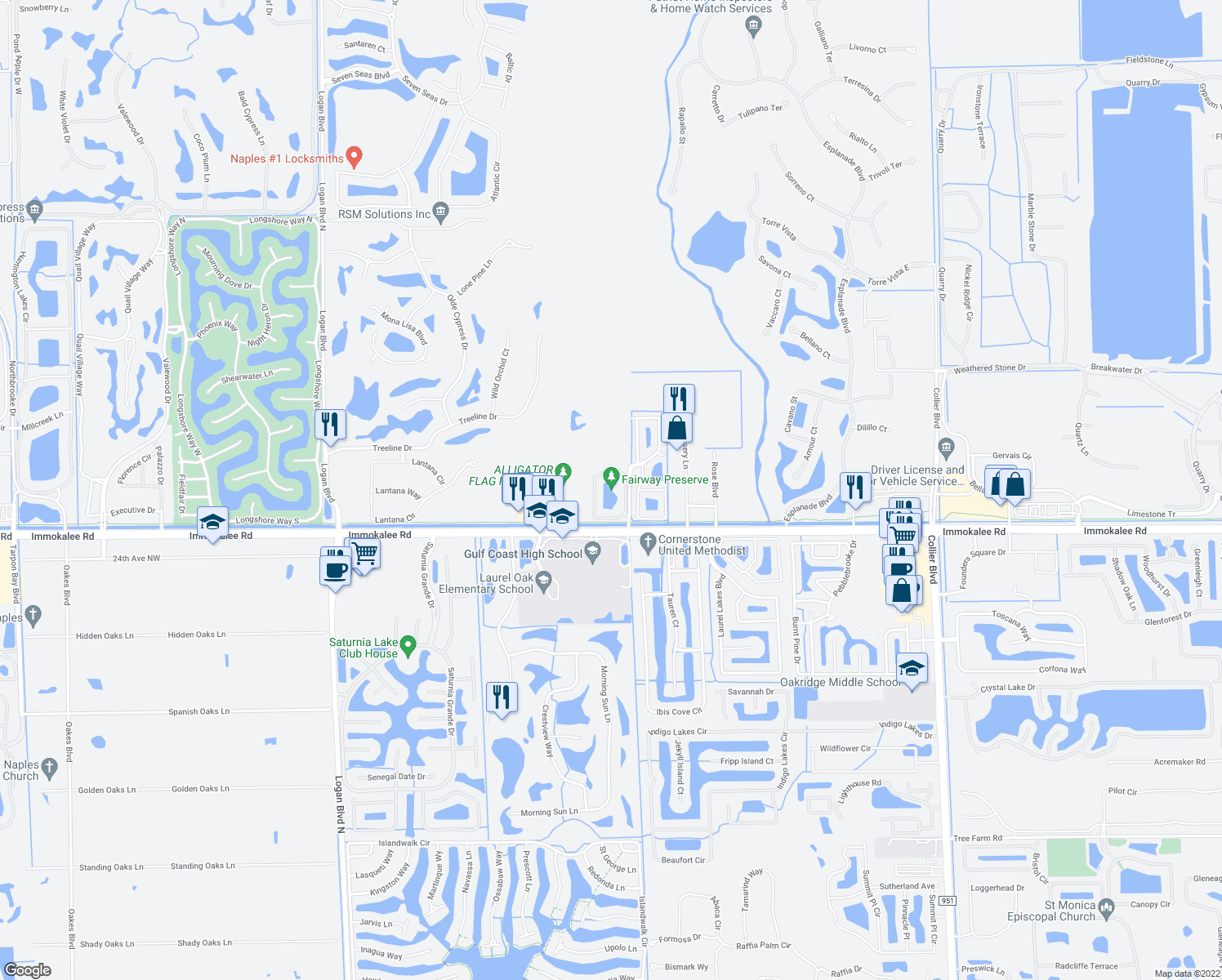 map of restaurants, bars, coffee shops, grocery stores, and more near 7940 Preserve Circle in Naples