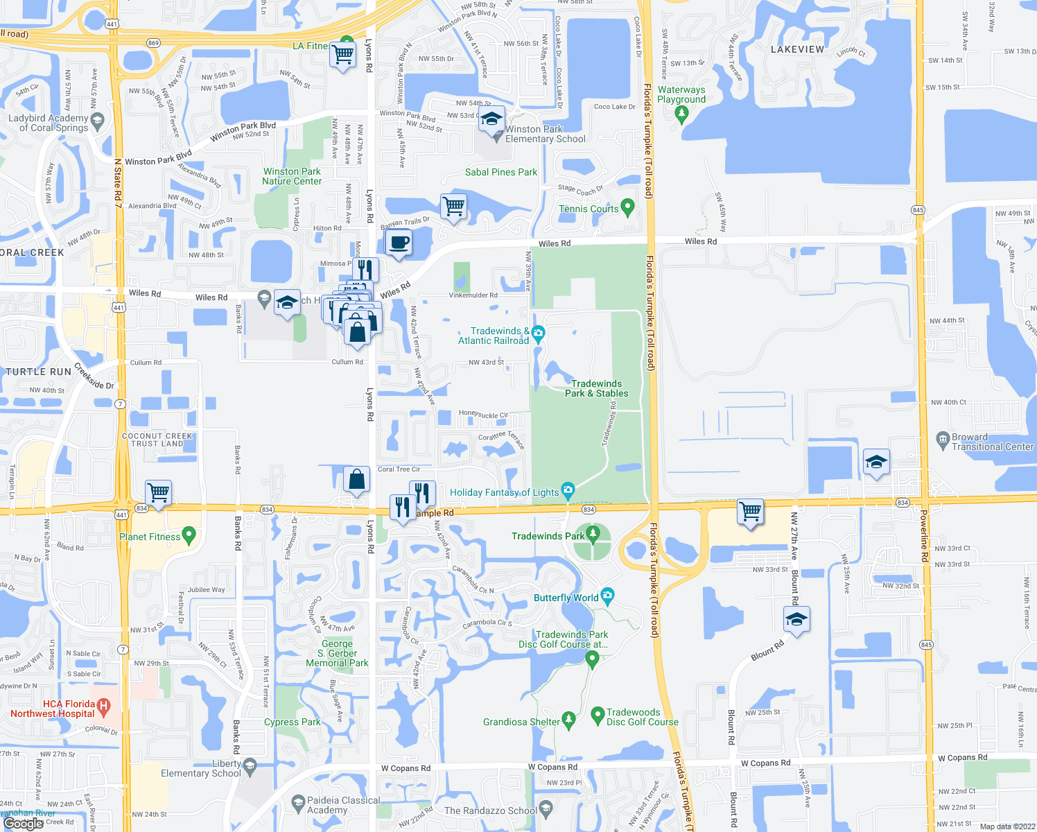 map of restaurants, bars, coffee shops, grocery stores, and more near 3990 Honeysuckle Circle in Coconut Creek