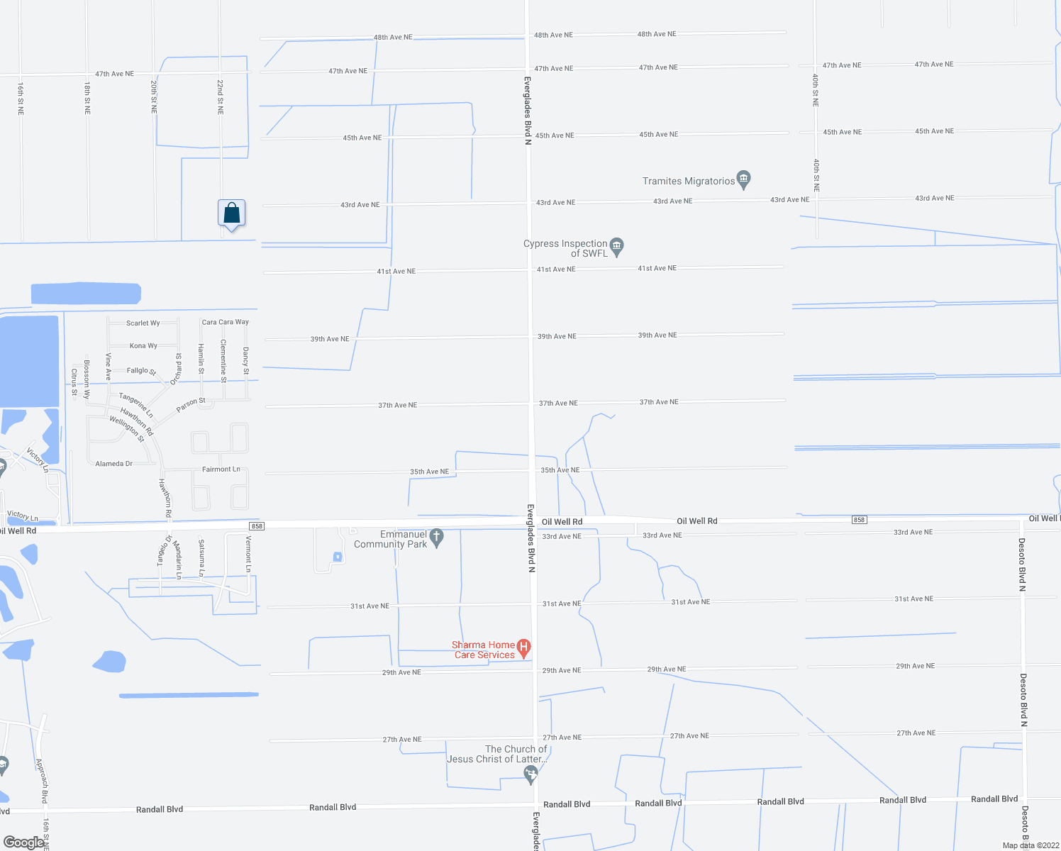 map of restaurants, bars, coffee shops, grocery stores, and more near Everglades Boulevard North in Naples
