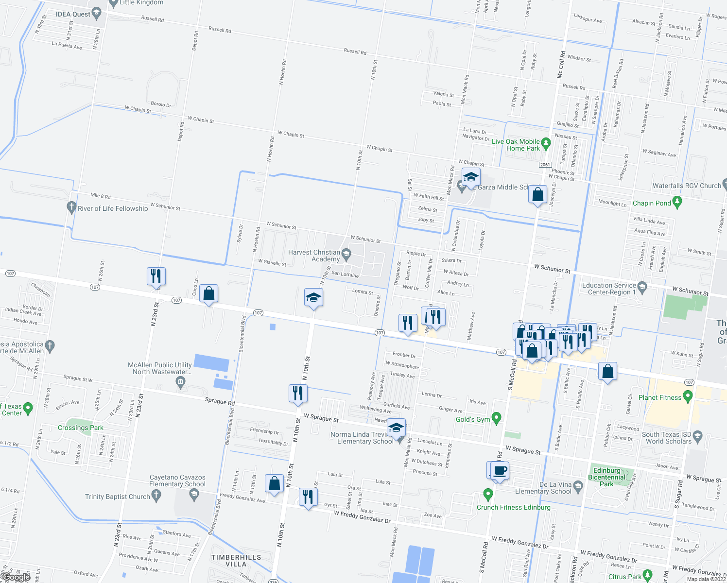 map of restaurants, bars, coffee shops, grocery stores, and more near Lomita Street in Edinburg