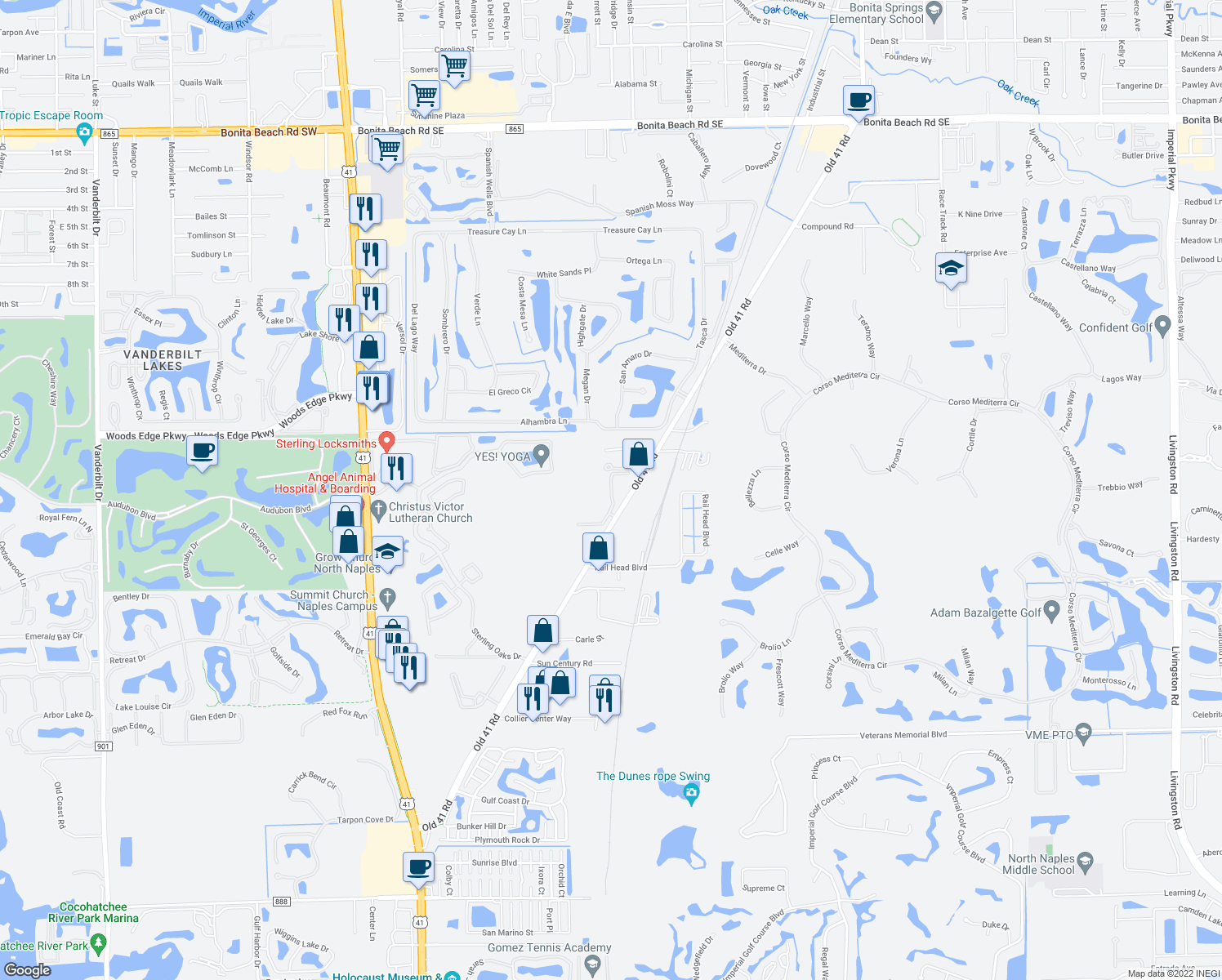 map of restaurants, bars, coffee shops, grocery stores, and more near 15985 Arbor View Blvd in Collier