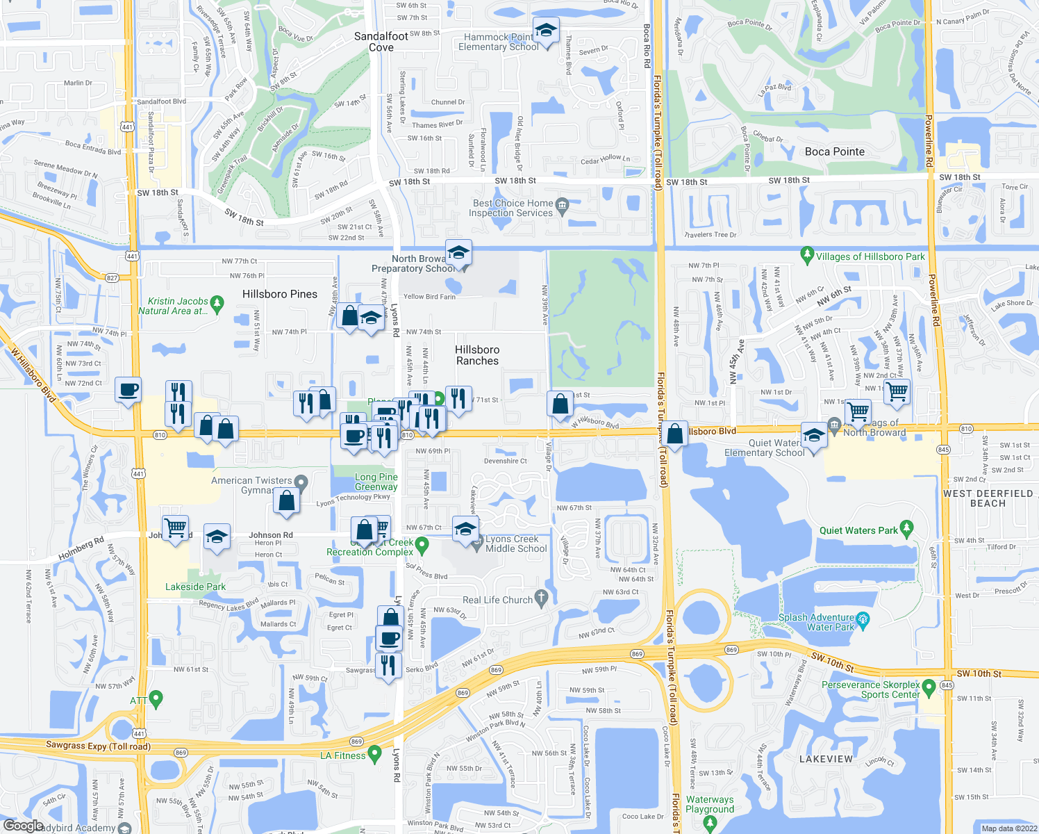 map of restaurants, bars, coffee shops, grocery stores, and more near 4039 Crescent Creek Court in Coconut Creek