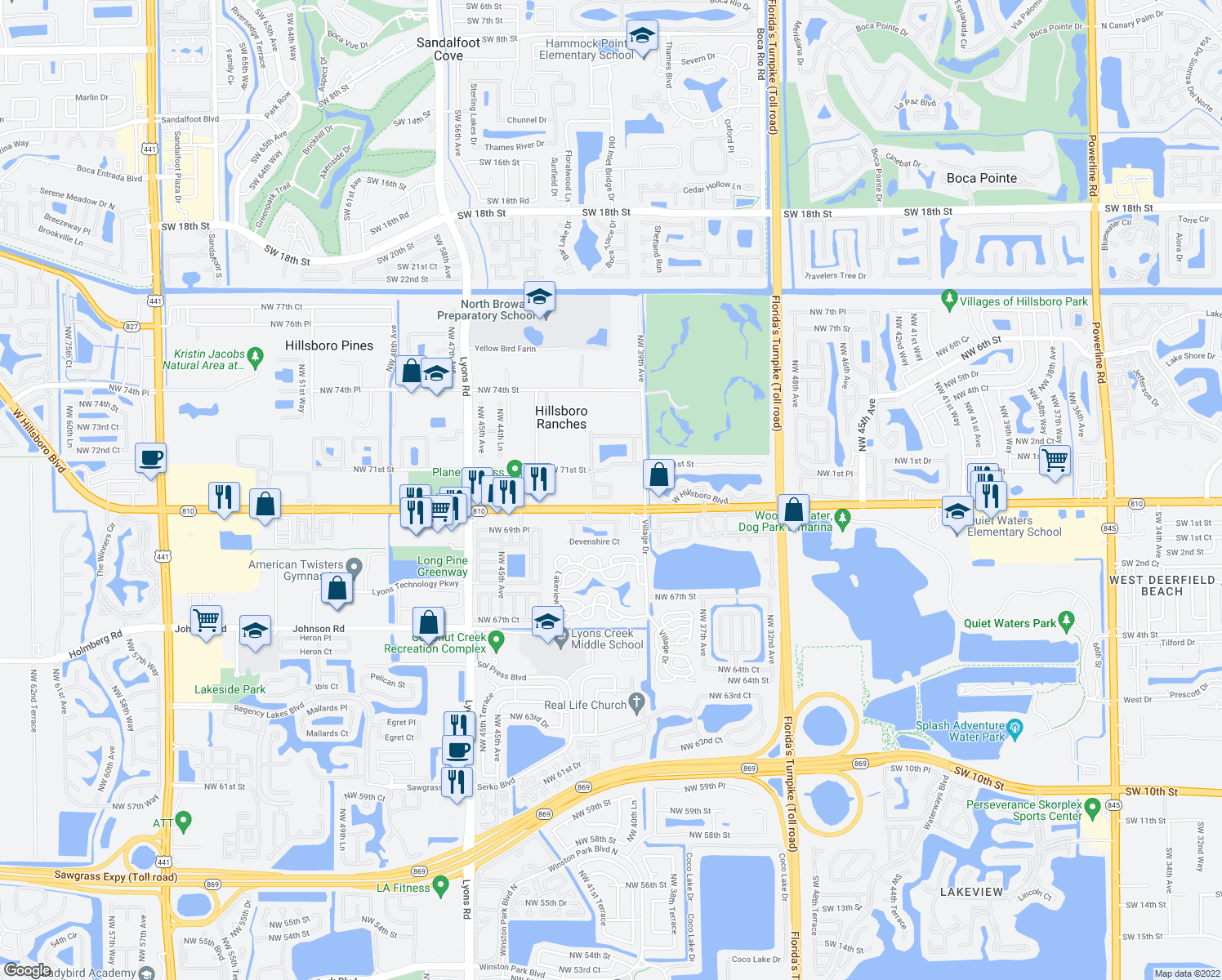 map of restaurants, bars, coffee shops, grocery stores, and more near 4039 Cresent Creek Court in Coconut Creek