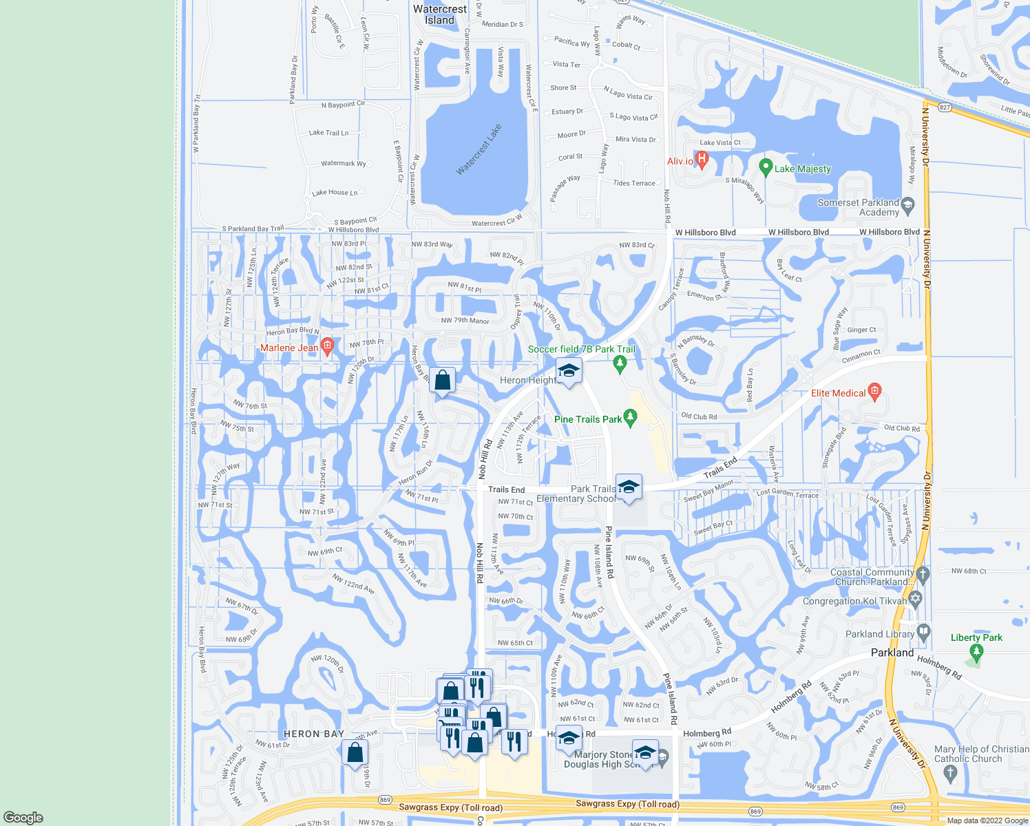 map of restaurants, bars, coffee shops, grocery stores, and more near 7513 Northwest 113th Avenue in Parkland