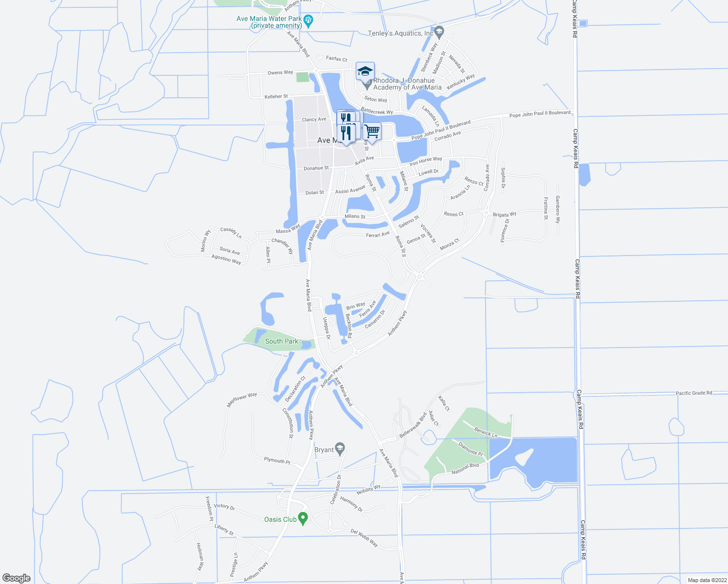 map of restaurants, bars, coffee shops, grocery stores, and more near 5109 Beckton Road in Ave Maria