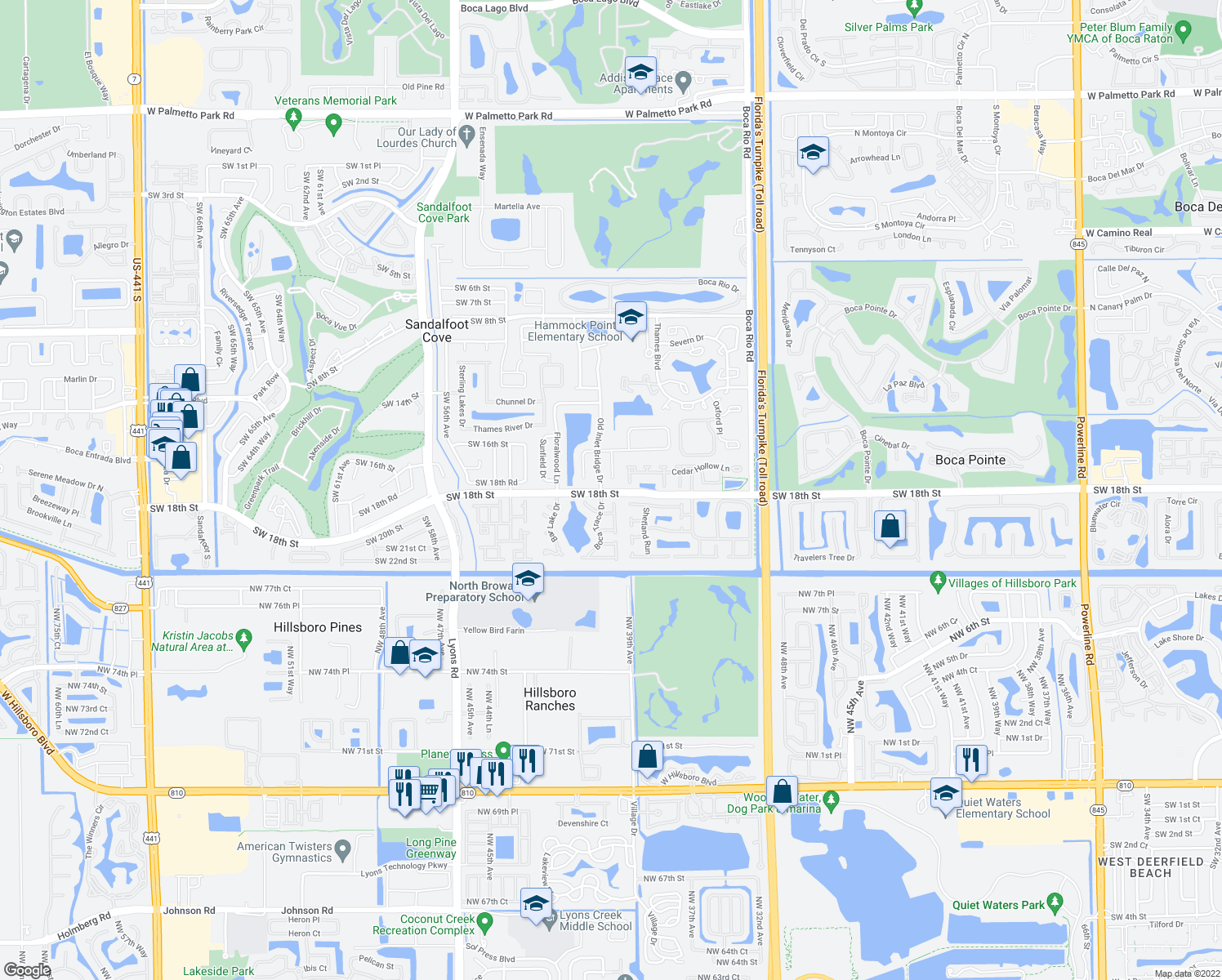 map of restaurants, bars, coffee shops, grocery stores, and more near 23220 Sedawie Drive in Boca Raton