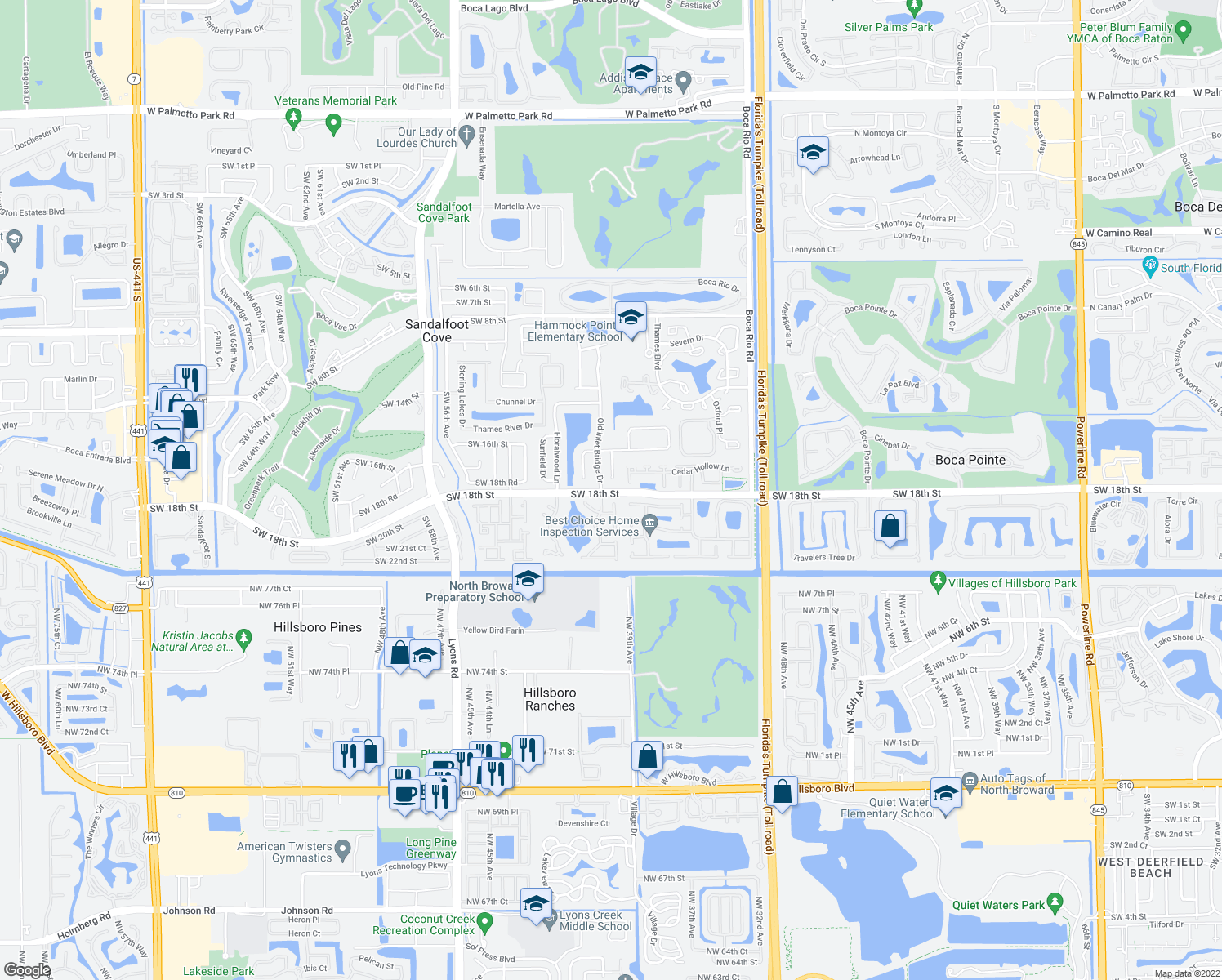 map of restaurants, bars, coffee shops, grocery stores, and more near 8421 Rural Lane in Boca Raton